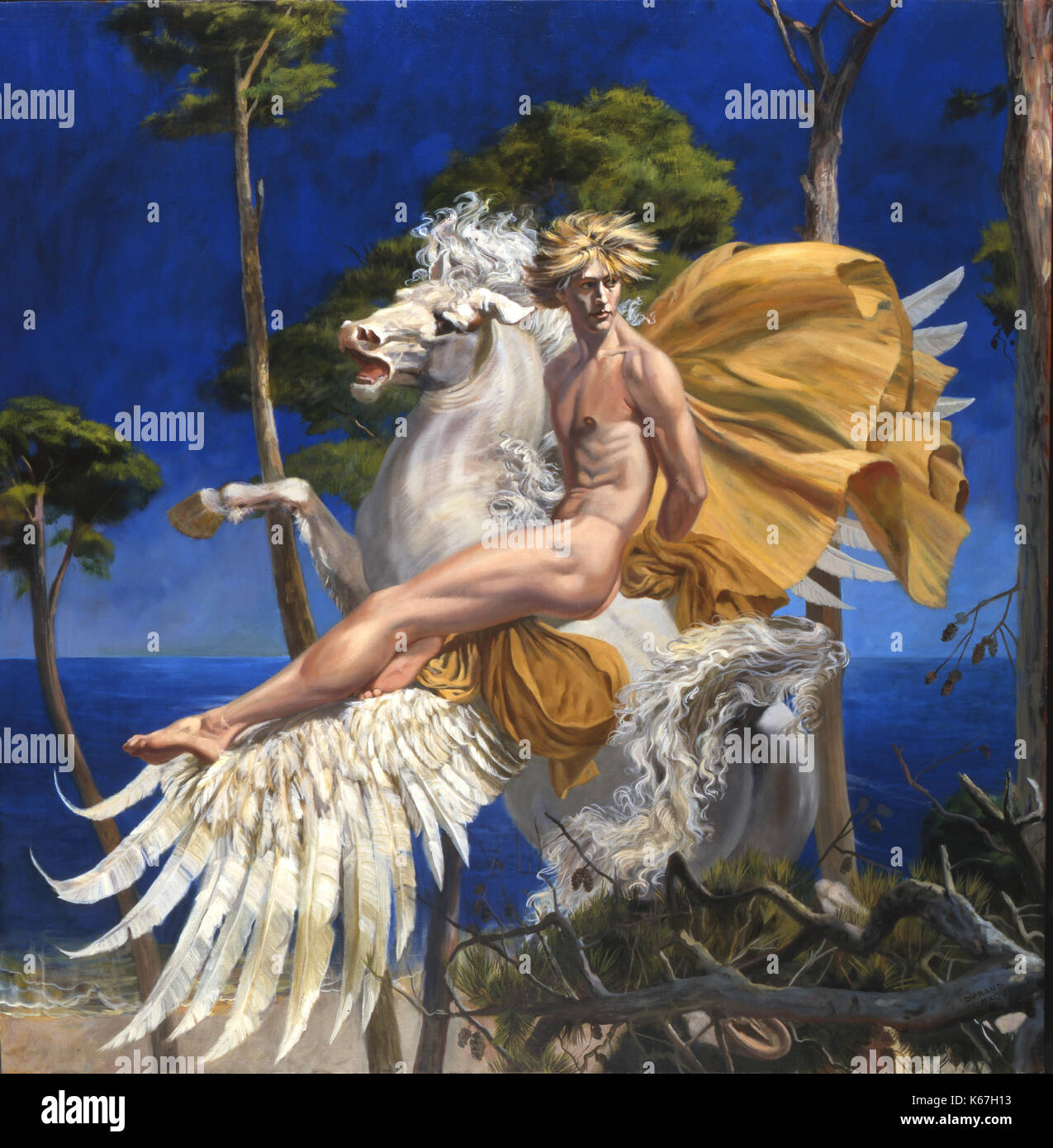 Pegasus-The white, winged divine stallion of Greek mythology is about to alight in a grove of pine trees at the edge of the sea. Pegasus' rider is a beautiful, blond youth, a mysterious Greek hero  Bellerophon or Perseus. The large painting is a posthumous portrait of the Royal Ballet dancer, Julian Hosking. - Stock Image