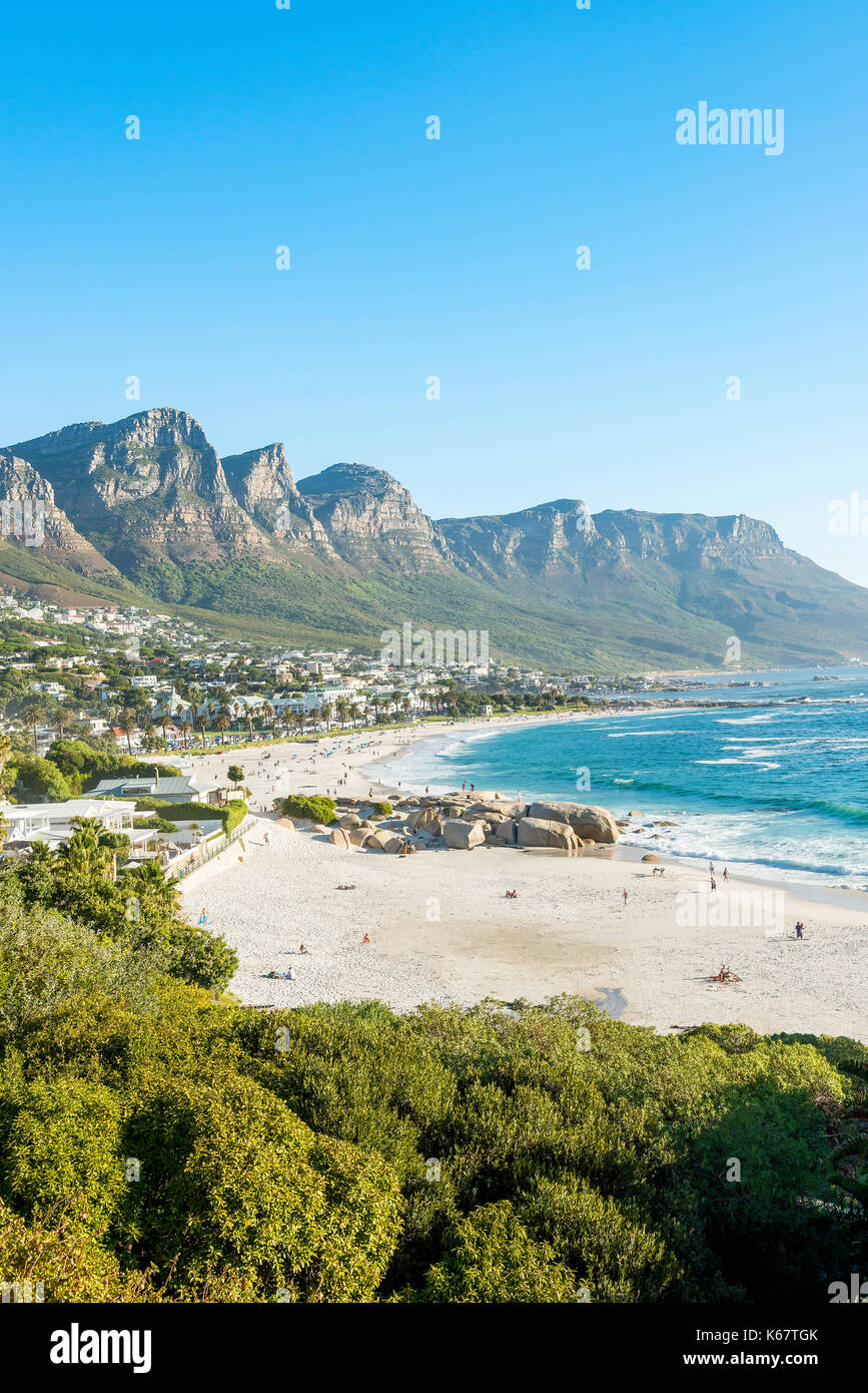 Camps Bay Beach & resort, Camps Bay, Cape Town, City of Cape Town Municipality, Western Cape Province, Republic of South Africa - Stock Image