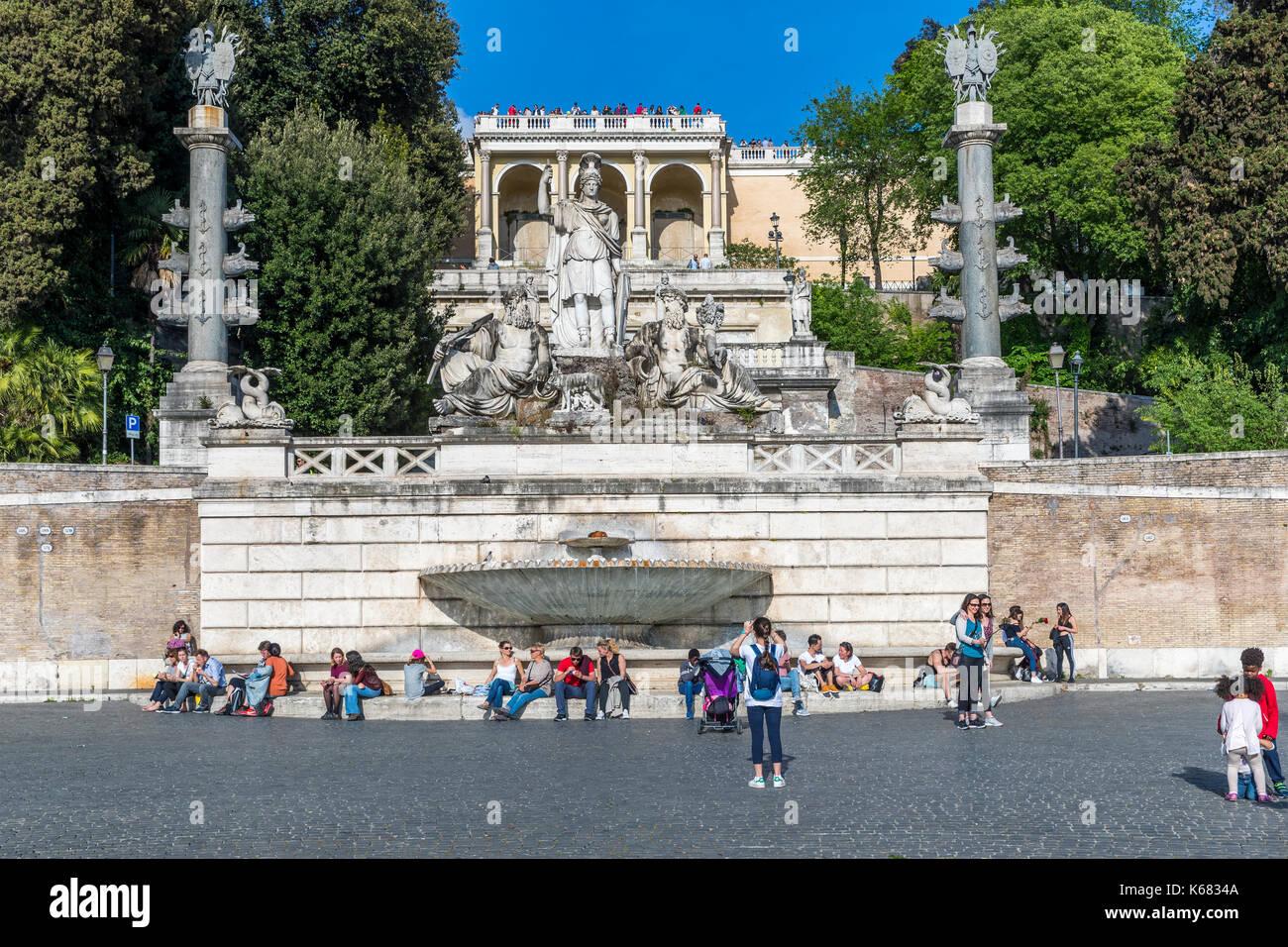 Fontana Della Dea Di Roma And Terrazza Del Pincio Seen From