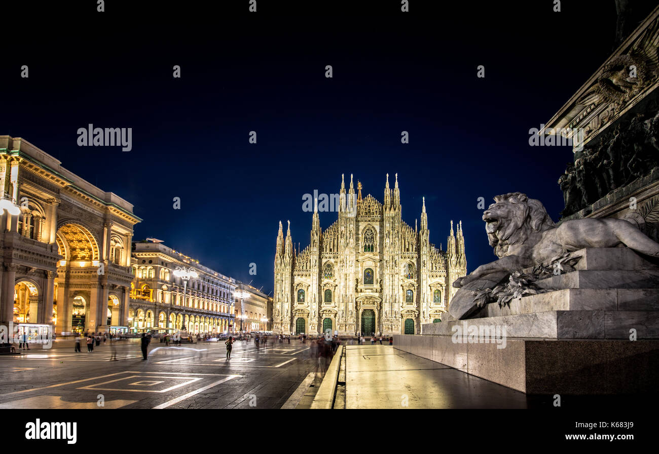Milan Cathedral, Piazza del Duomo at night, Lombardia, Italy Stock Photo