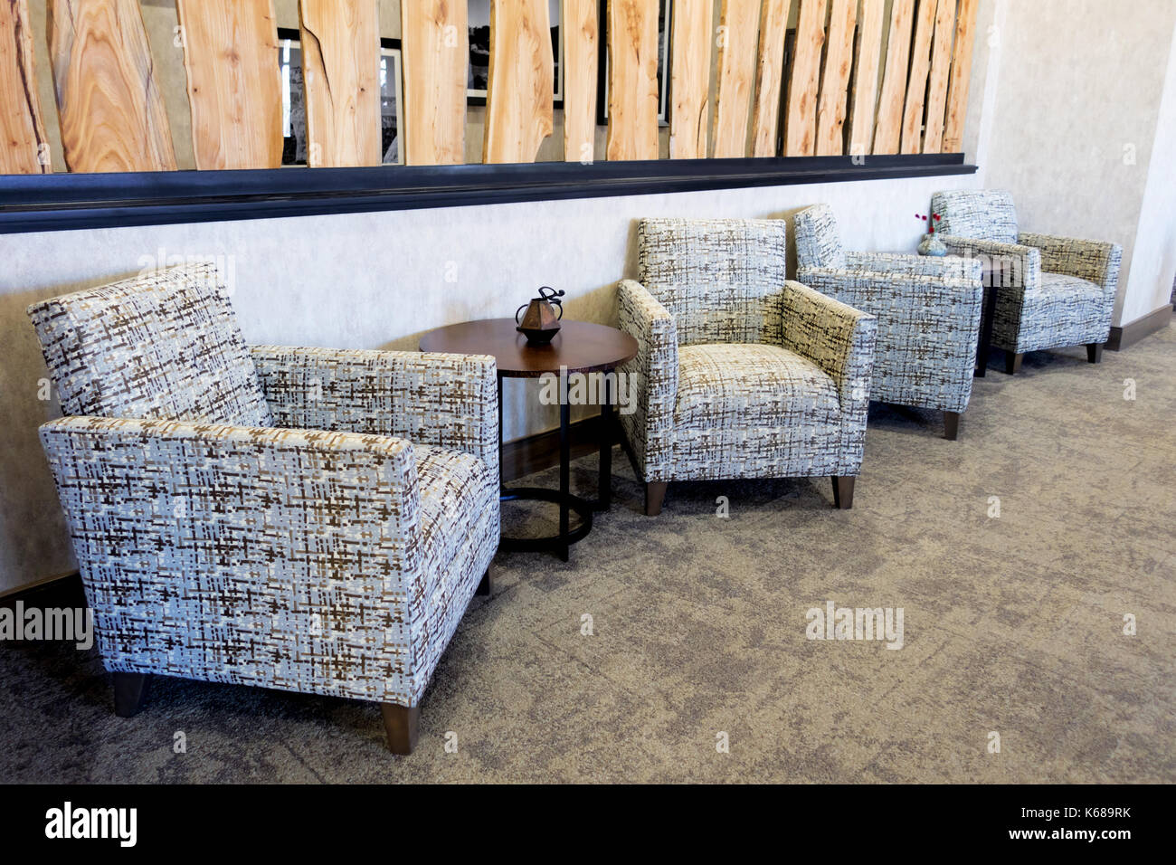 Patterned Armchairs In A Lobby.   Stock Image