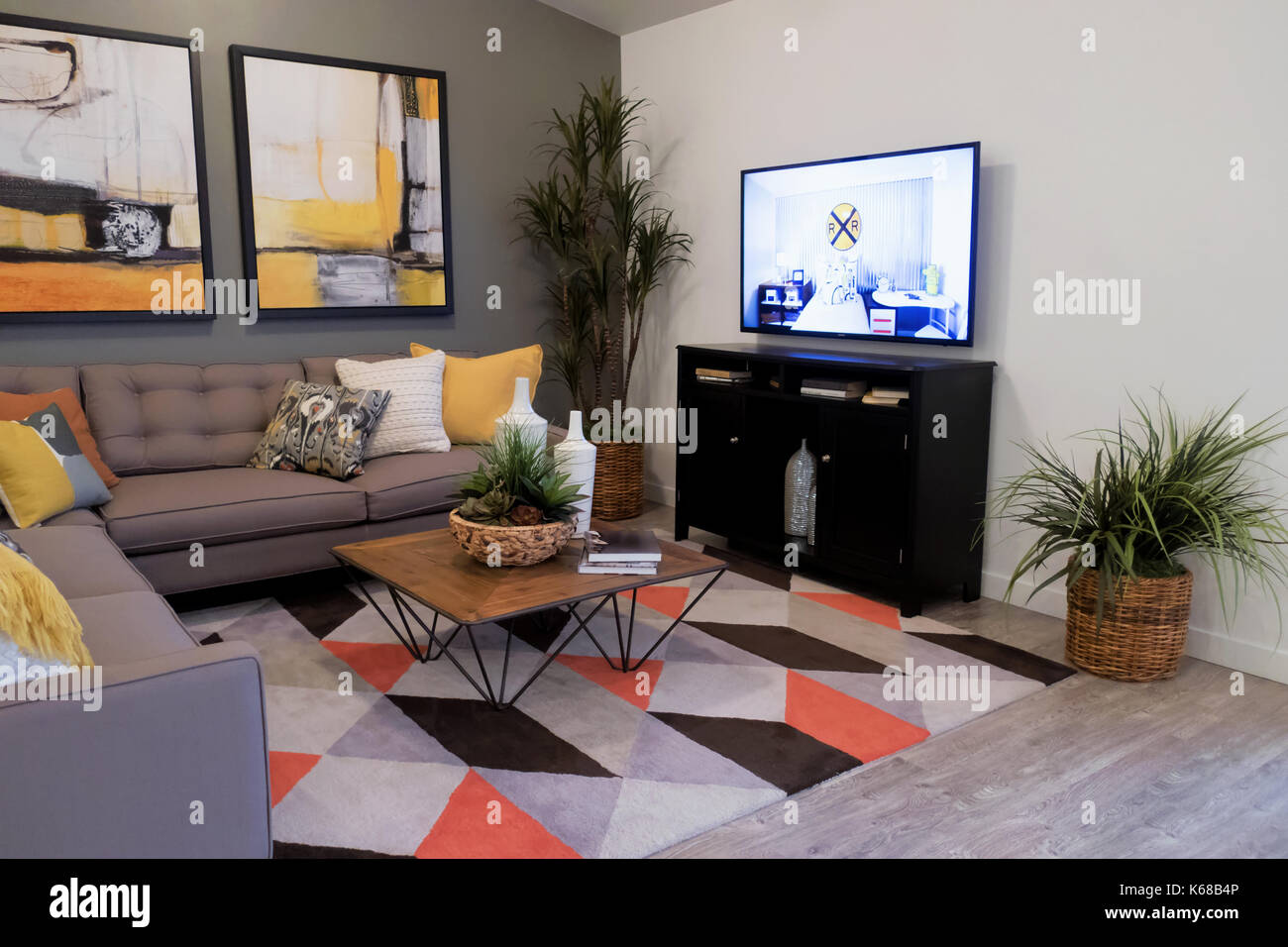 Fabulous A Gray Sectional Couch On A Colorful Rug Near A Tv Stand And Creativecarmelina Interior Chair Design Creativecarmelinacom