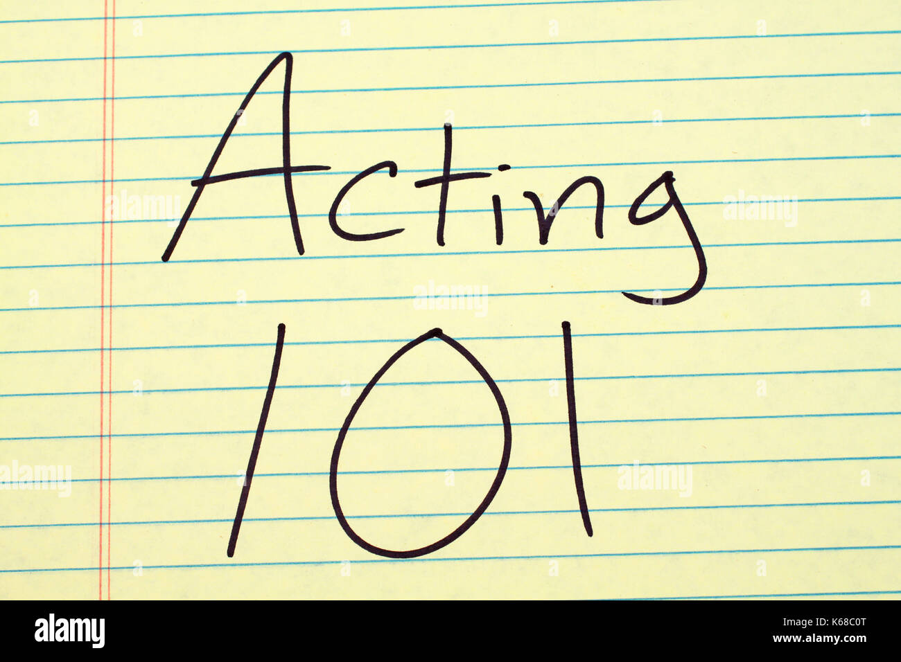 """The words """"Acting 101"""" on a yellow legal pad Stock Photo"""