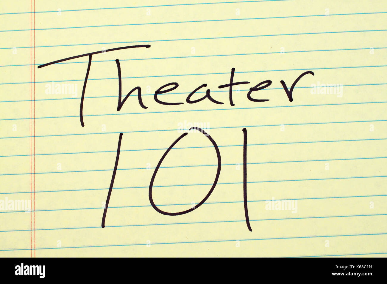 The words 'Theater 101' on a yellow legal pad - Stock Image