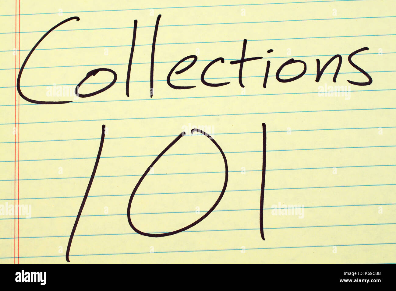 The words 'Collections 101' on a yellow legal pad - Stock Image