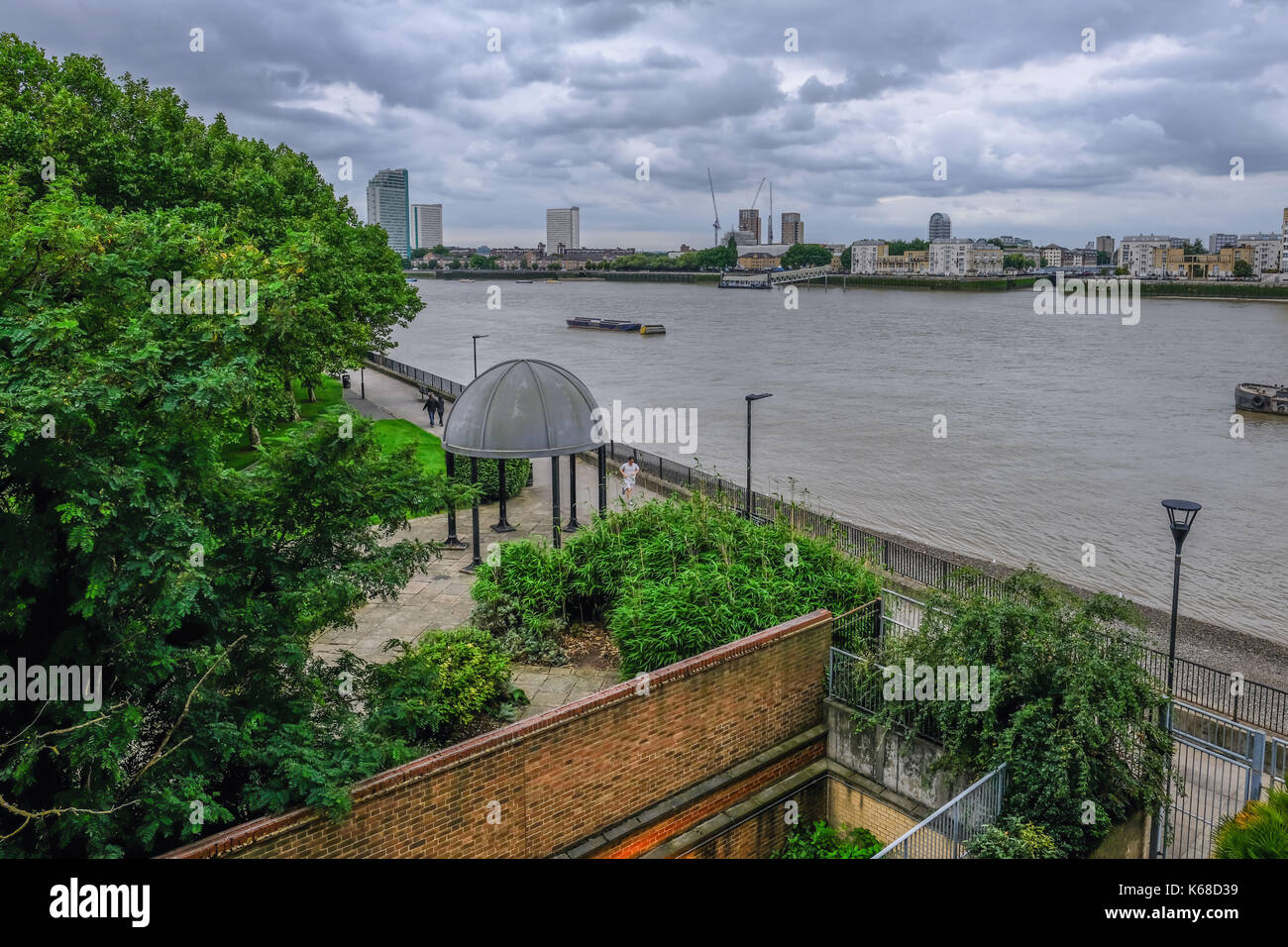 London, UK - August 20, 2017: View of the Mc Dougal Park on the Isle of Dogs. Ariel view looking accross the River Thames. - Stock Image