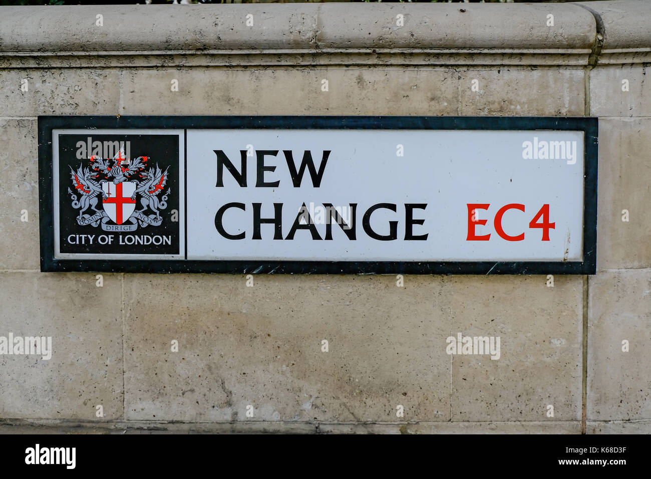 London, UK - August 3, 2017:  Street sign for New Change EC4.  Horizontal shot of this street name. - Stock Image