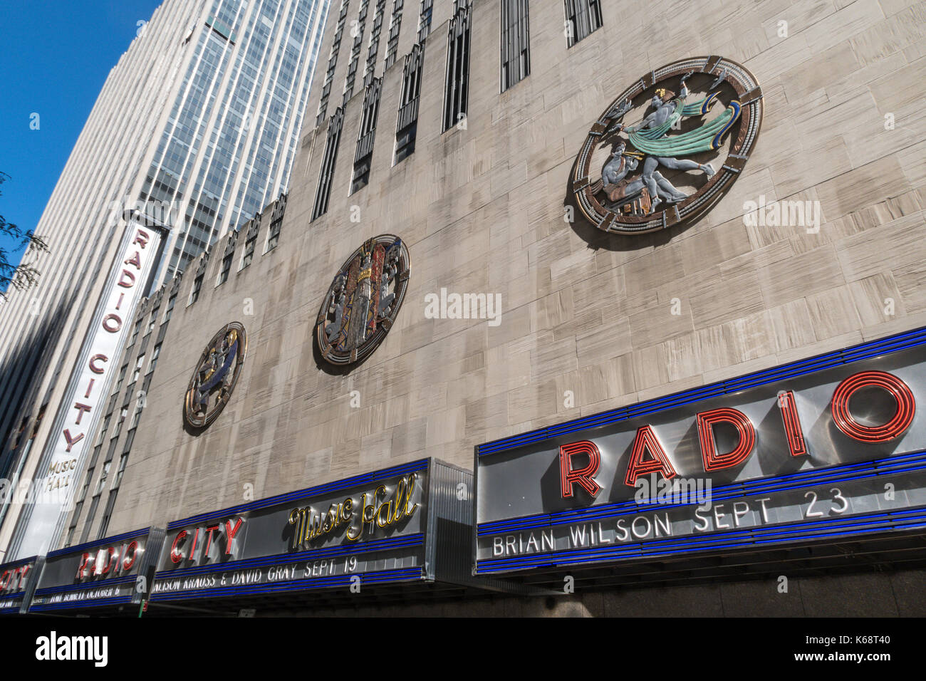 Detail Openwork Plaque , Dance, Drama and Song,  Radio City Musical Hall, Rockefeller Center, New York City - Stock Image
