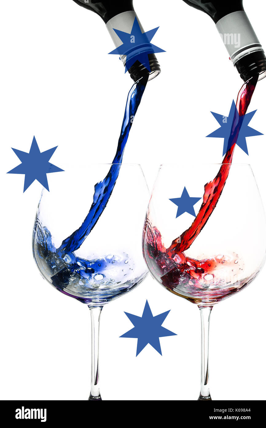 wine pouring into glass with Southern Cross overlaid - Stock Image