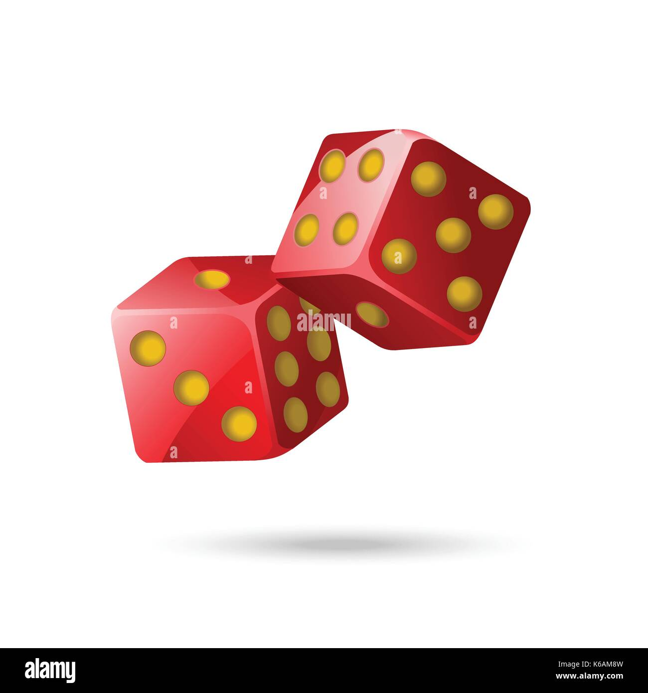 Red poker dice - modern vector isolated object on white background. Two items. Casino, gambling, luck, fortune concept. Use this high quality clip art - Stock Image