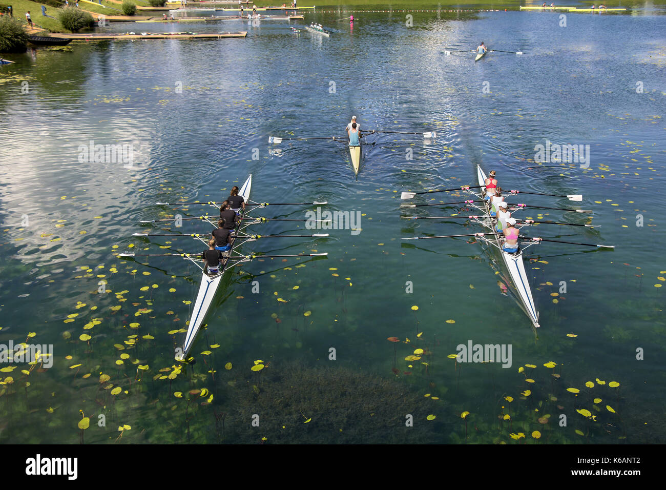 Young people training rowing on the lake Jarun in Zagreb - Stock Image