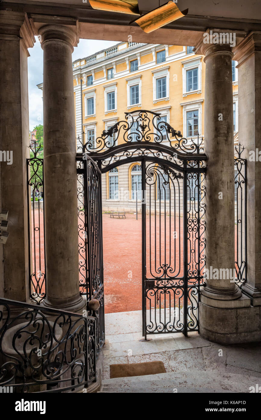 Wrought Iron Gate, Saint Jean Palace, Lyon, Rhône Alpes, France - Stock Image
