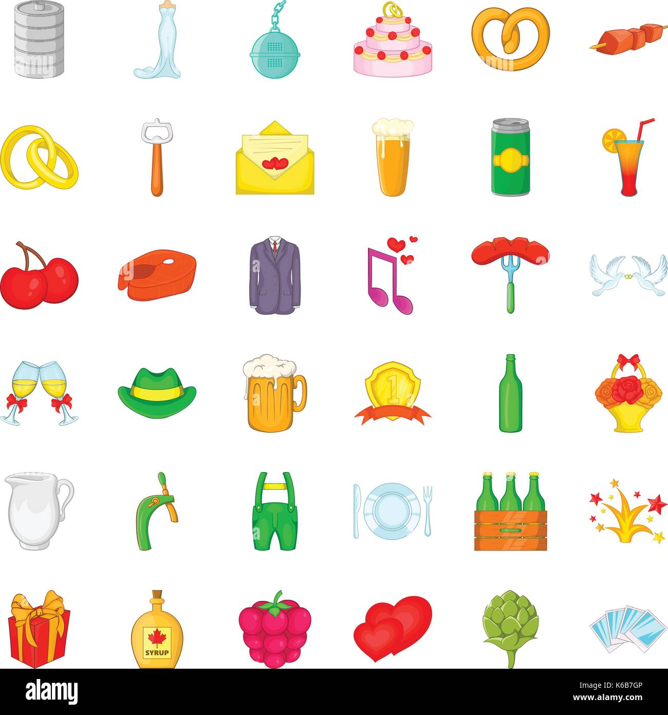 Grille icons set, cartoon style - Stock Vector