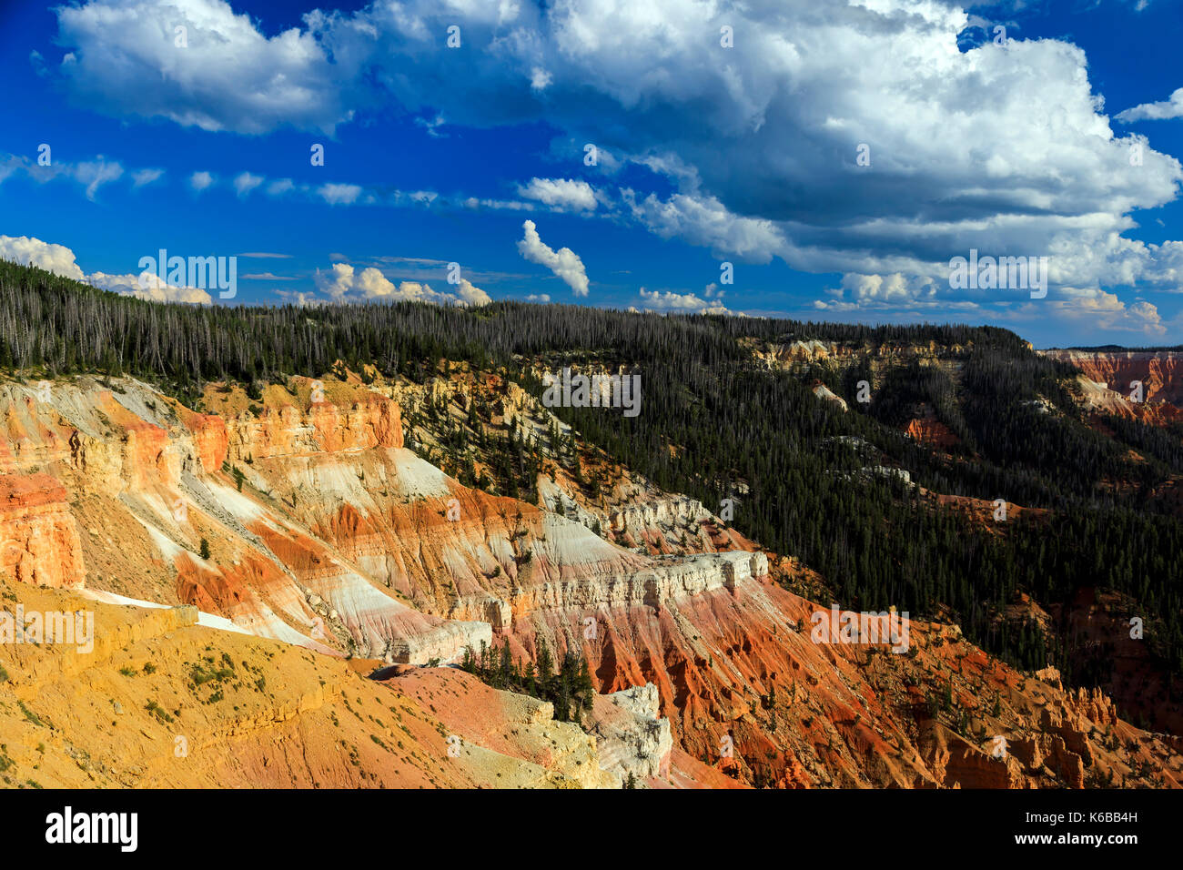 This is a view of the red rock formations and forested area of the amphitheater of Cedar Breaks National Monument, Utah, USA. - Stock Image