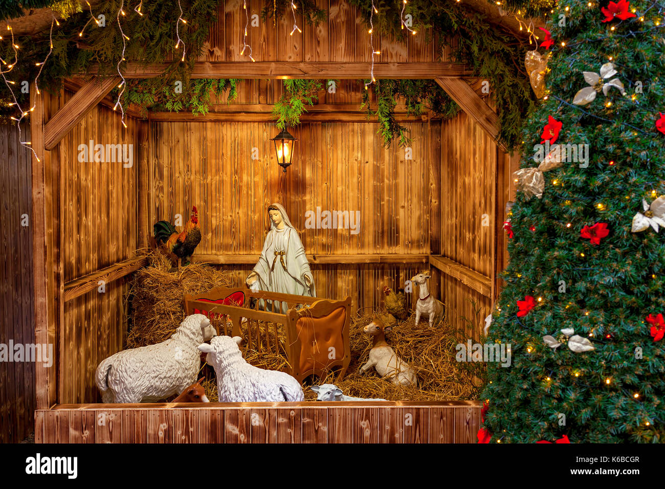 Nativity scene exposed in Old Town of Prague, Czech Republic in anticipation of Christmas. - Stock Image