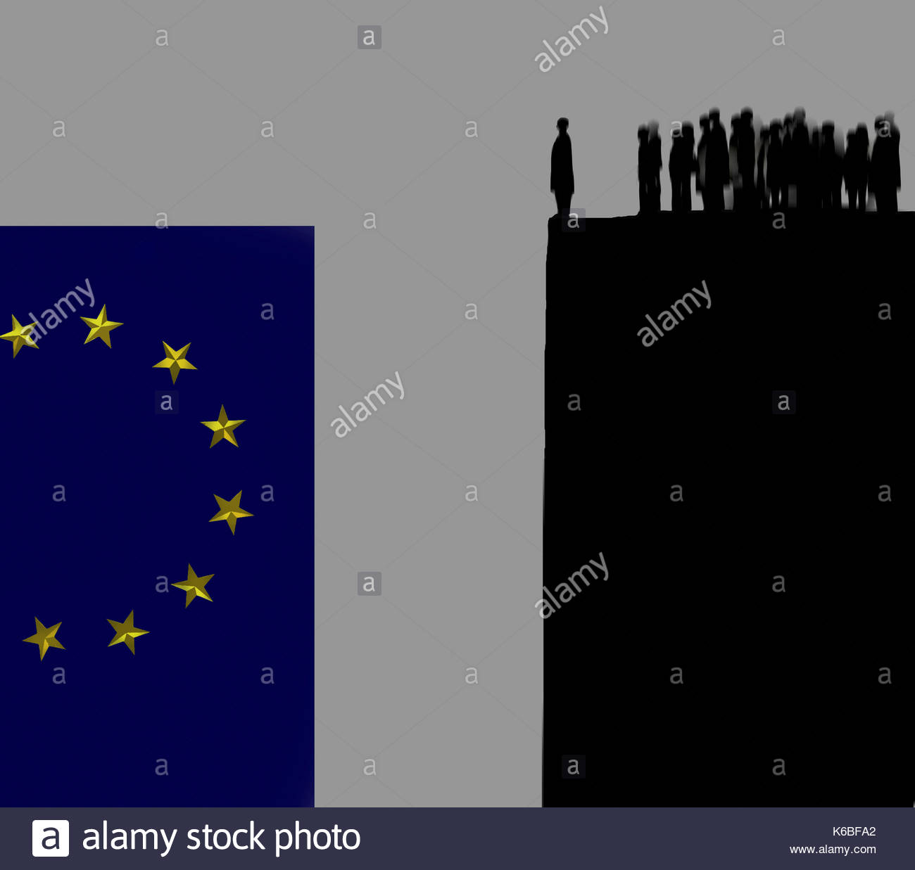 People queuing on top of cliff looking across gap at European Union flag - Stock Image