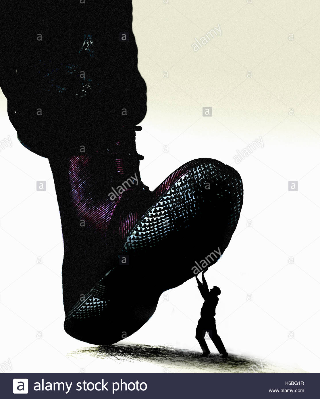 Large military boot stepping on man struggling below - Stock Image