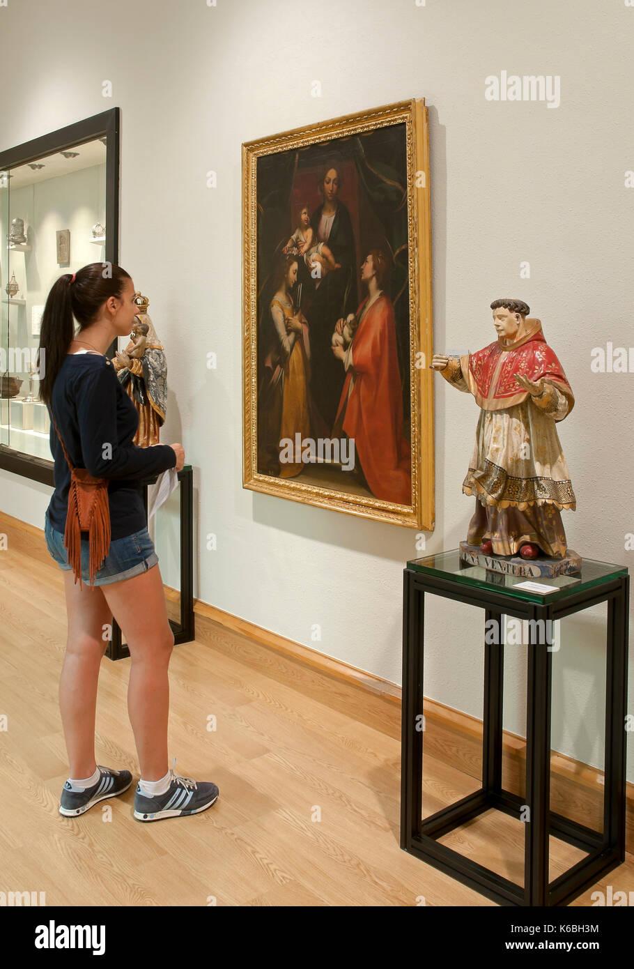 Provincial museum - visitor, Lugo, Region of Galicia, Spain, Europe Stock Photo