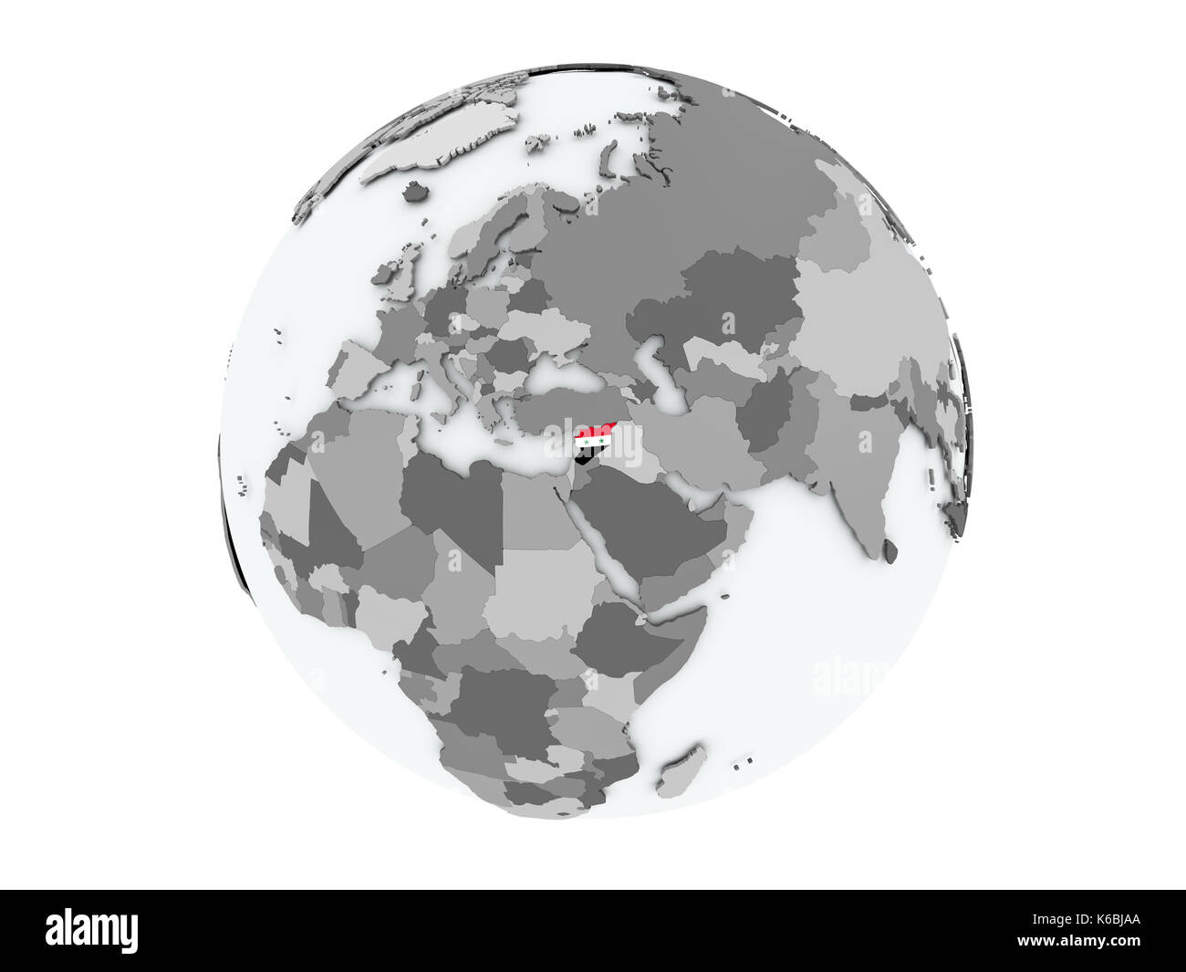 Syria on political globe with embedded flags. 3D illustration isolated on white background. - Stock Image