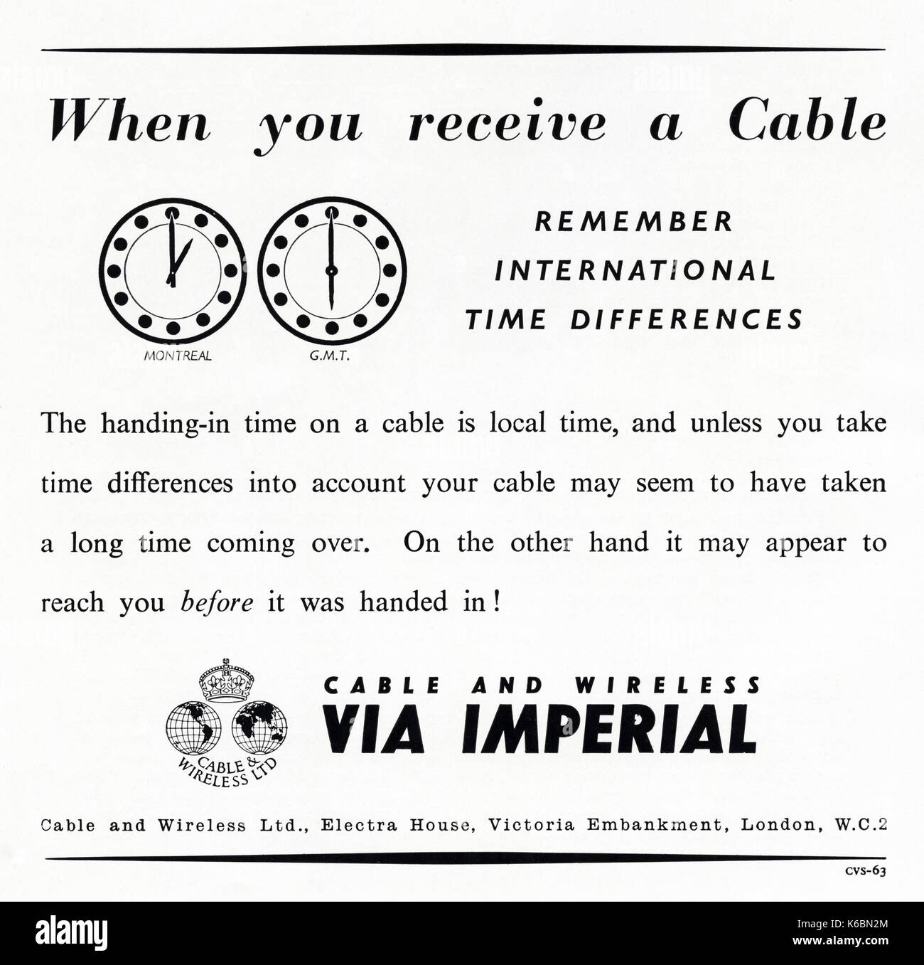 1940s old vintage original advert advertising Cable and Wireless Limited in magazine circa 1947 when supplies were still restricted under post-war rationing - Stock Image