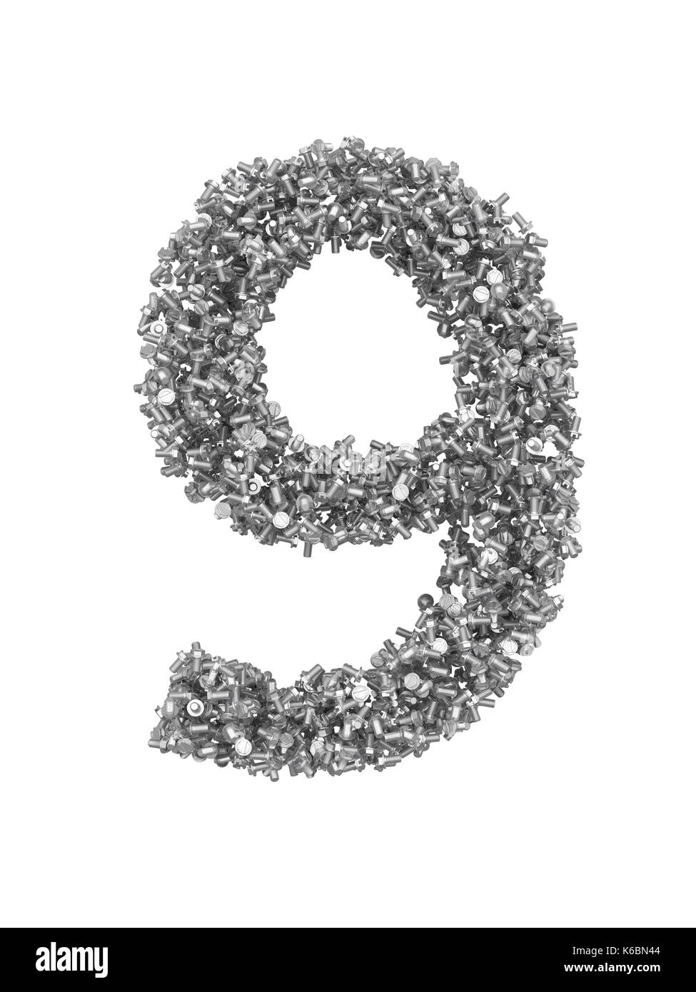 3D Render Of Silver Or Grey Numbers Make From Bolts Number 9 With Clipping Path Isolated On White Background