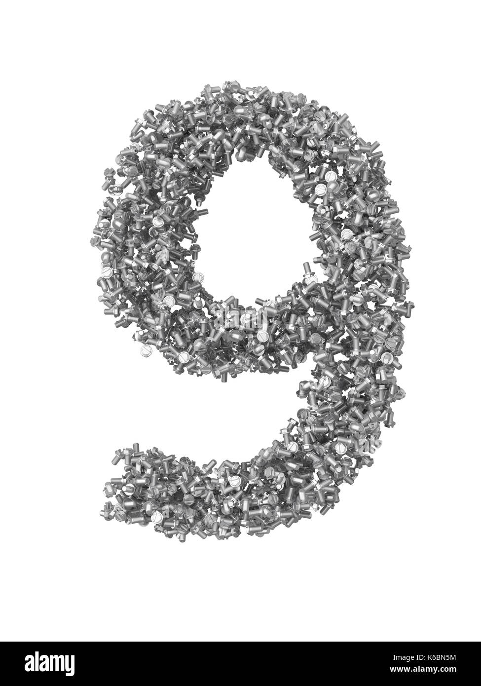 3D render of silver or grey numbers make from bolts. Number 9 with clipping path. Isolated on white background - Stock Image