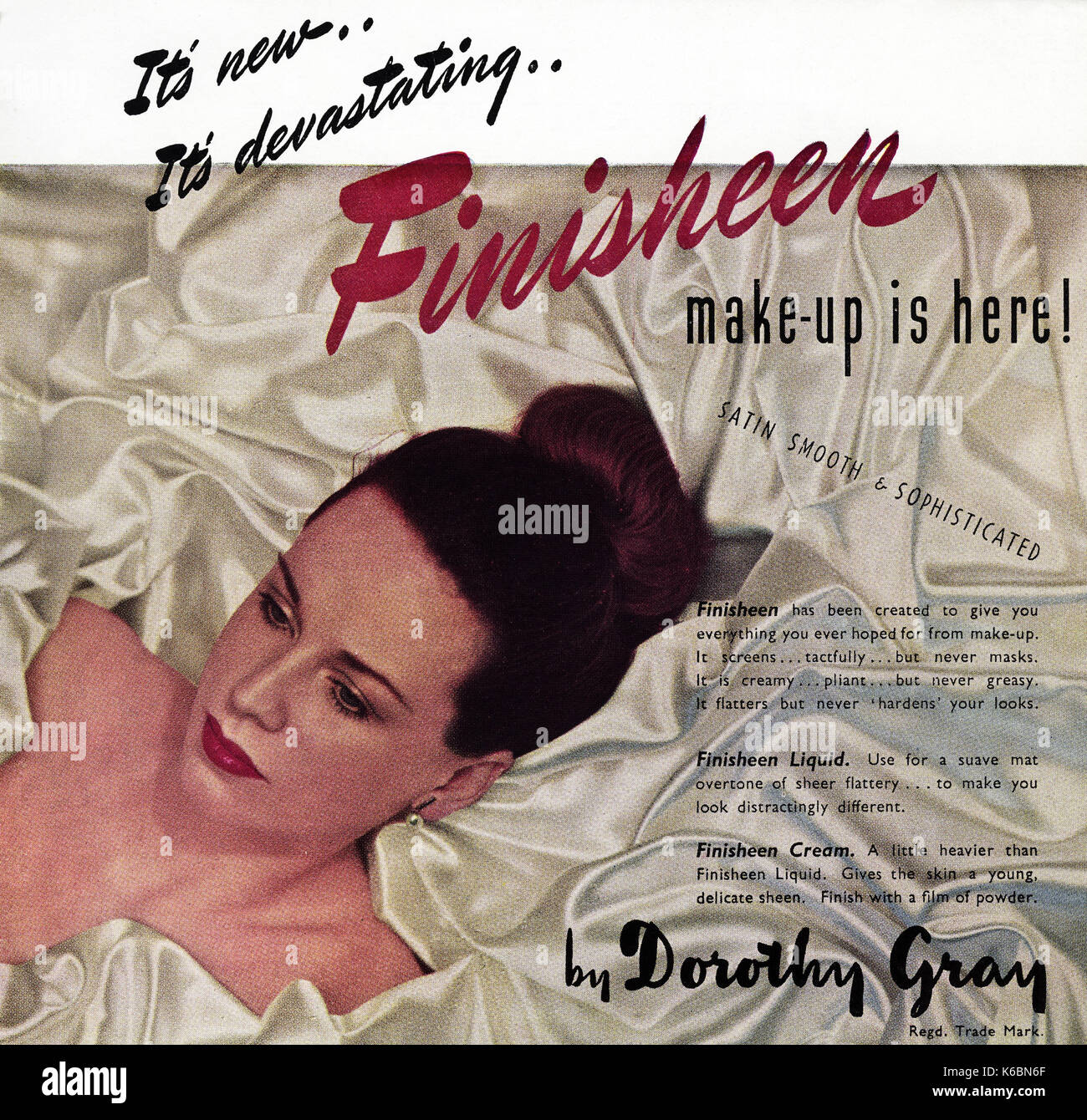 1940s old vintage original advert advertising Dorothy Gray make-up in magazine circa 1947 when supplies were still restricted under post-war rationing - Stock Image
