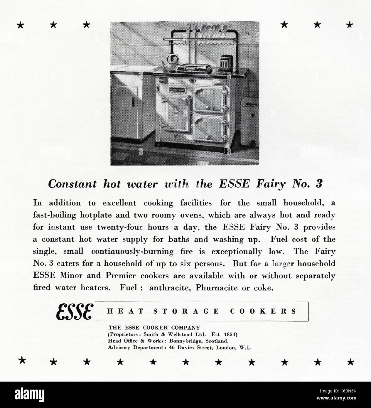 1940s old vintage original advert advertising Esse Fairy No 3 heat storage cookers in magazine circa 1947 when supplies were still restricted under post-war rationing - Stock Image