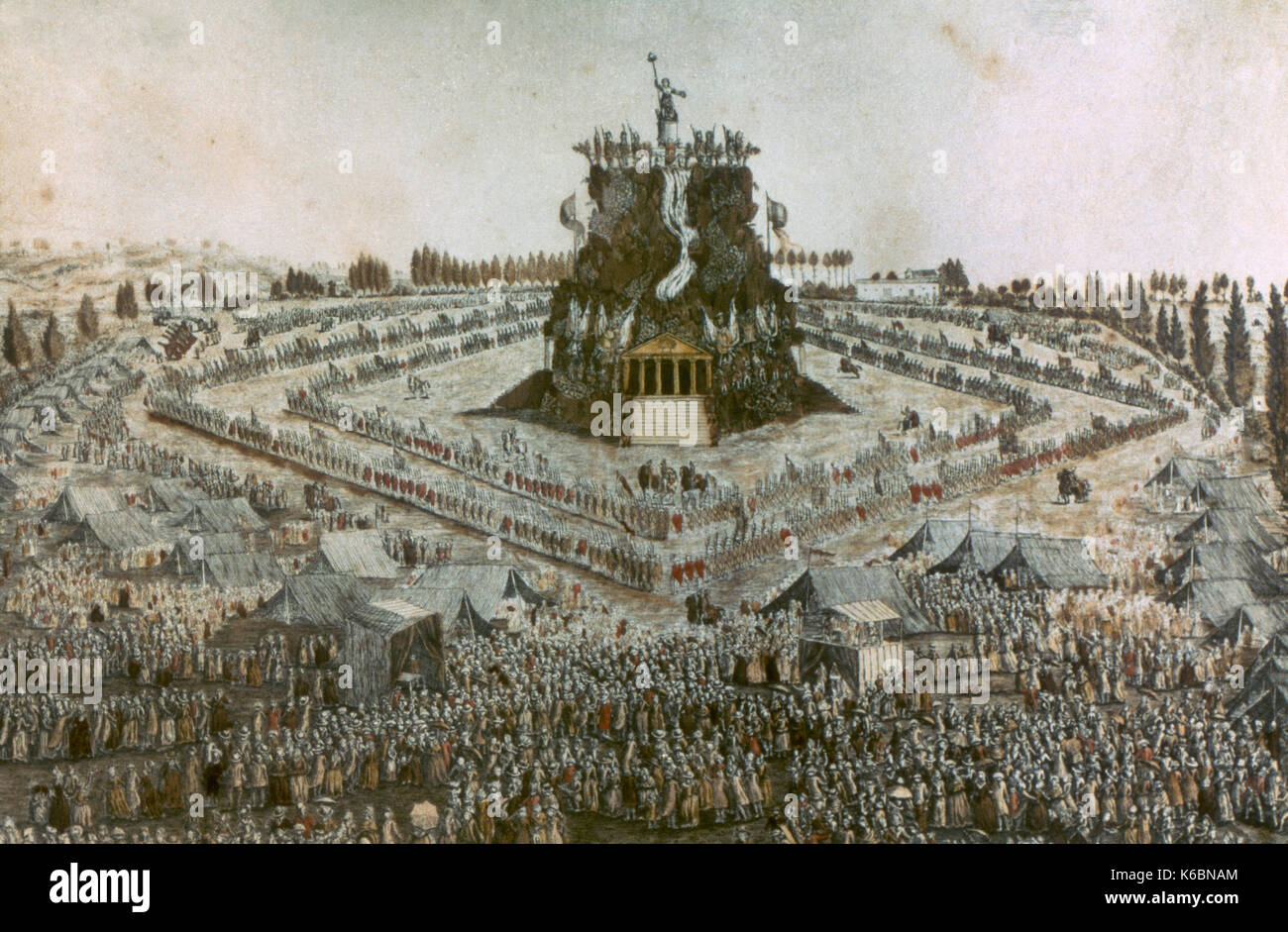 French Revolution (1789-1799). The Feast in the Federal Field in Lyon, May 30, 1790. Etching, 18th century. - Stock Image