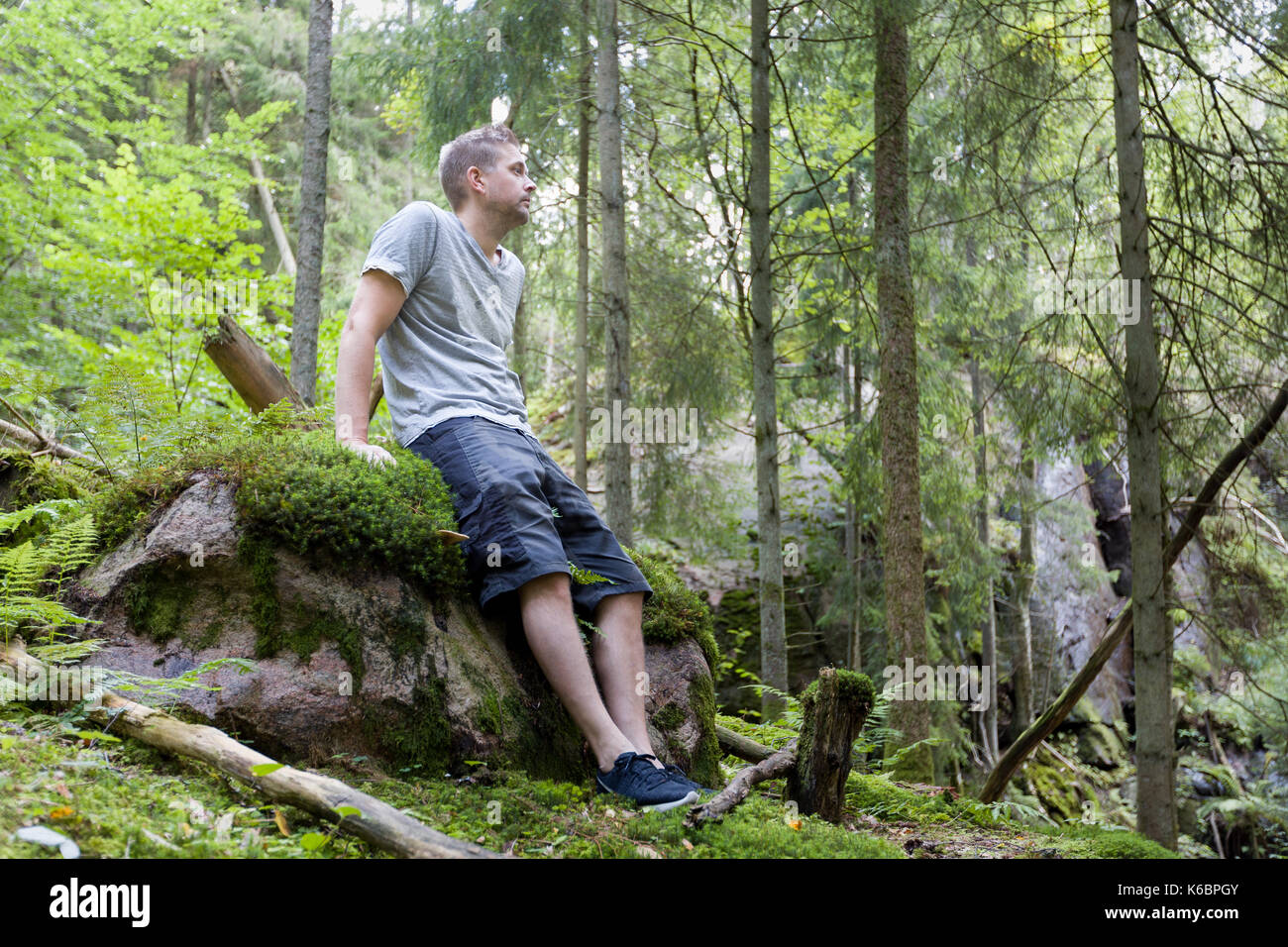 Mid adult caucasian man outdoors in tranquil forest relaxing on rock  Model Release: Yes.  Property Release: No. - Stock Image