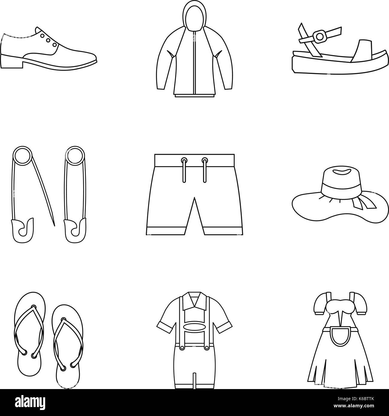 Summer clothes icon set. Outline set of 9 summer clothes vector icons for web design isolated on white background - Stock Vector