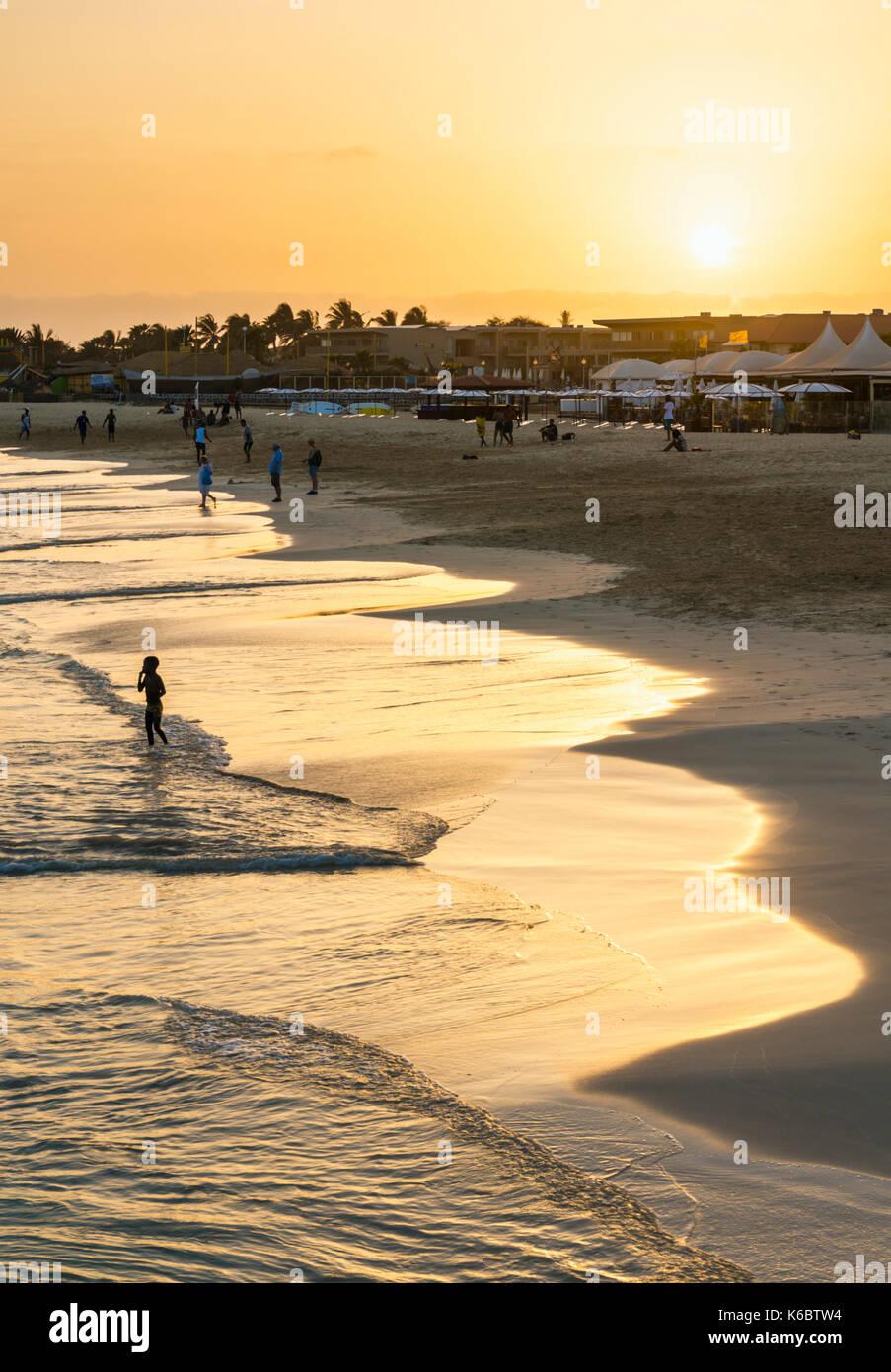 CAPE VERDE SAL Sunset at the beach in Santa Maria, Praia de Santa Maria, Baia de Santa Maria, Sal Island, Cape Verde, Stock Photo