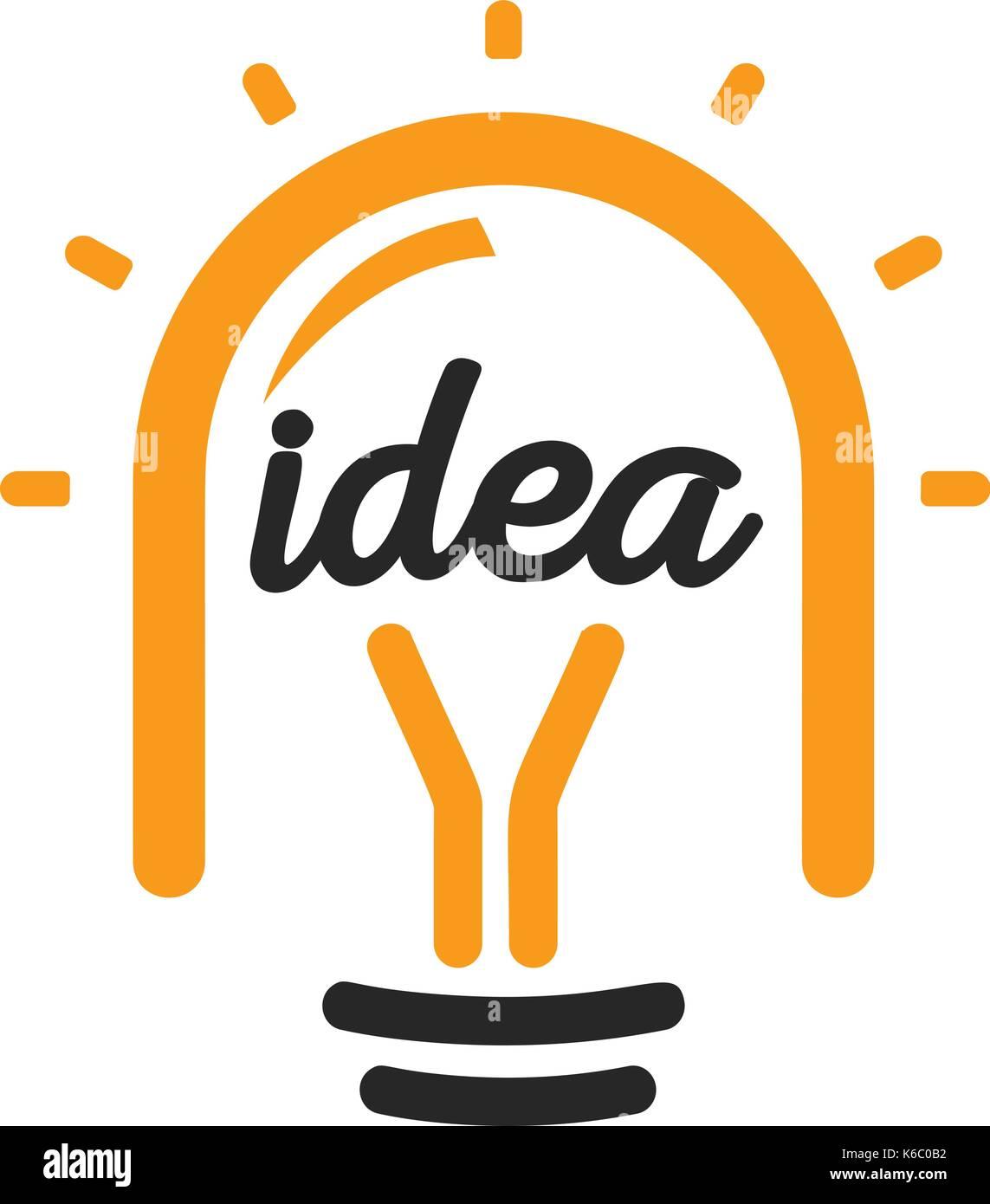 New idea symbol stylized vector lightbulbs icon, orange and black