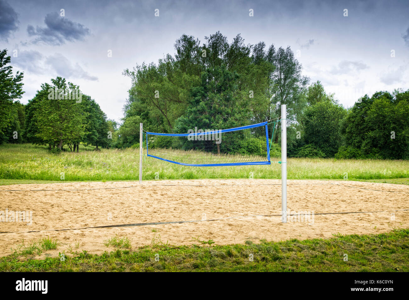 Beach Volleyball court in the Countryside - Stock Image