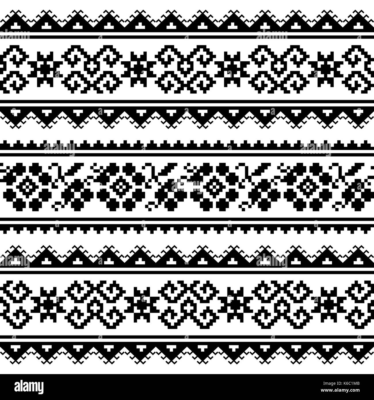 Ukrainian or Belarusian folk art embroidery pattern or print in black and white - Stock Image