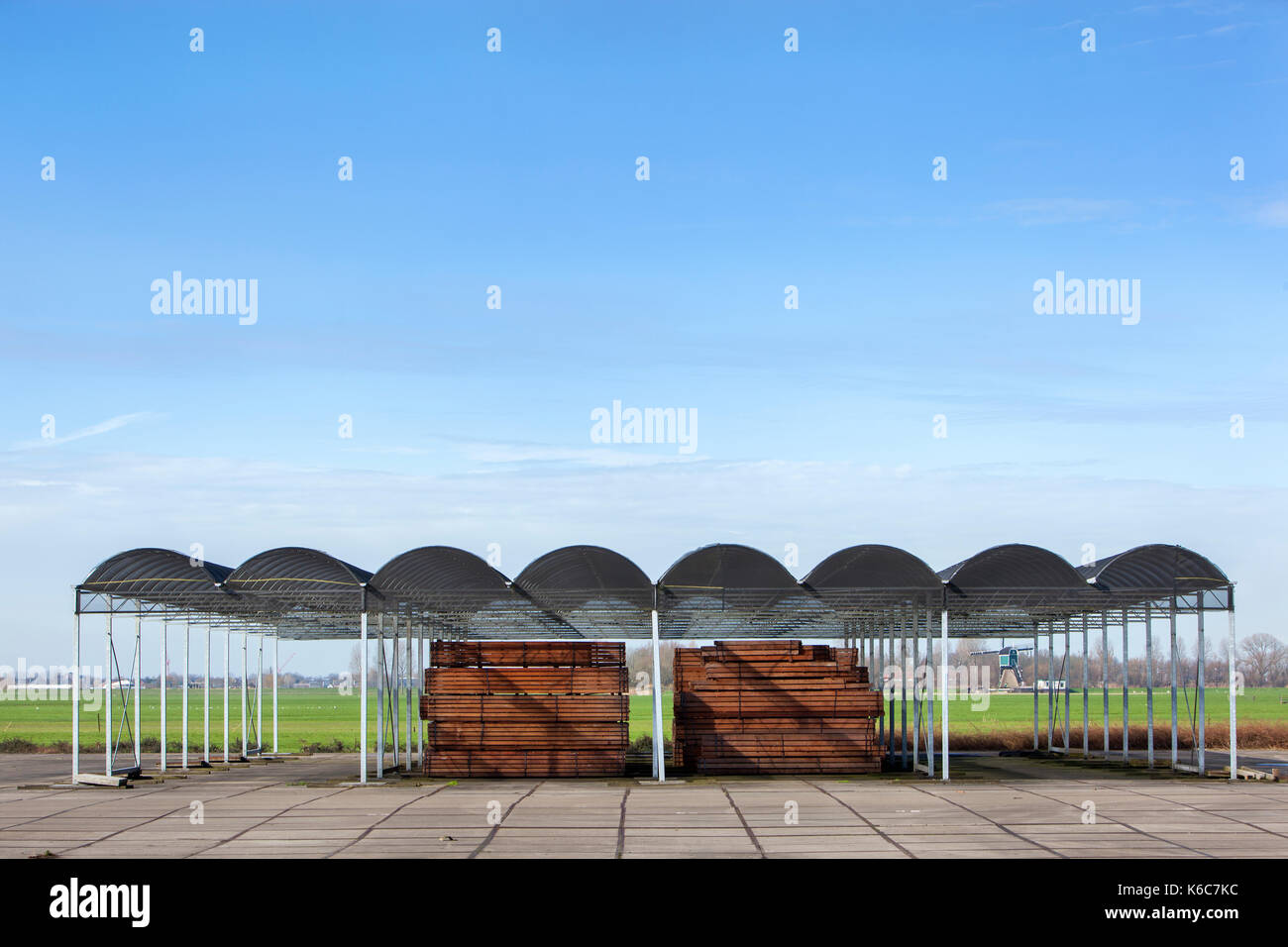 Outdoors industrial storage of piles hardwood under a roof - Stock Image