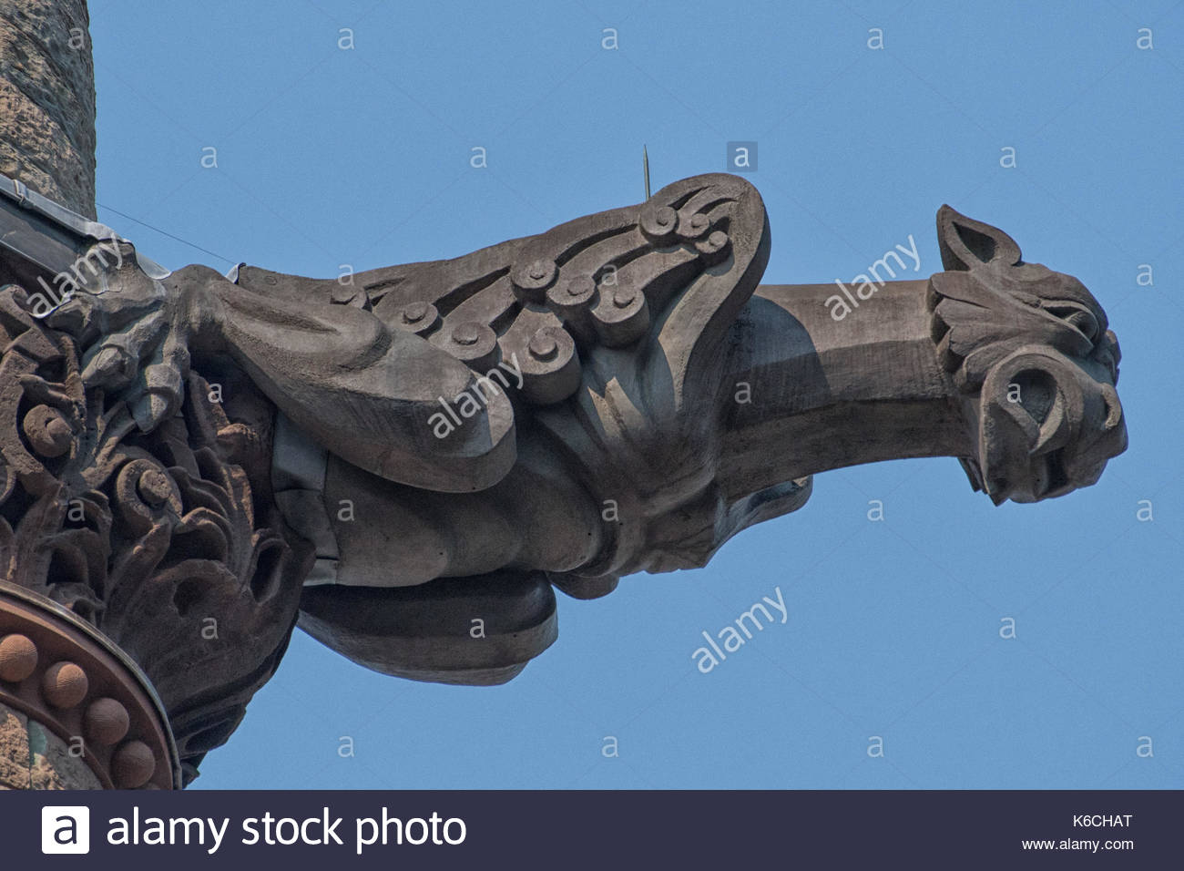 Gargoyle in the clock tower of the Old City Hall building. The Richardsonian Romanesque Revival landmark is a tourist attraction in the Canadian city - Stock Image