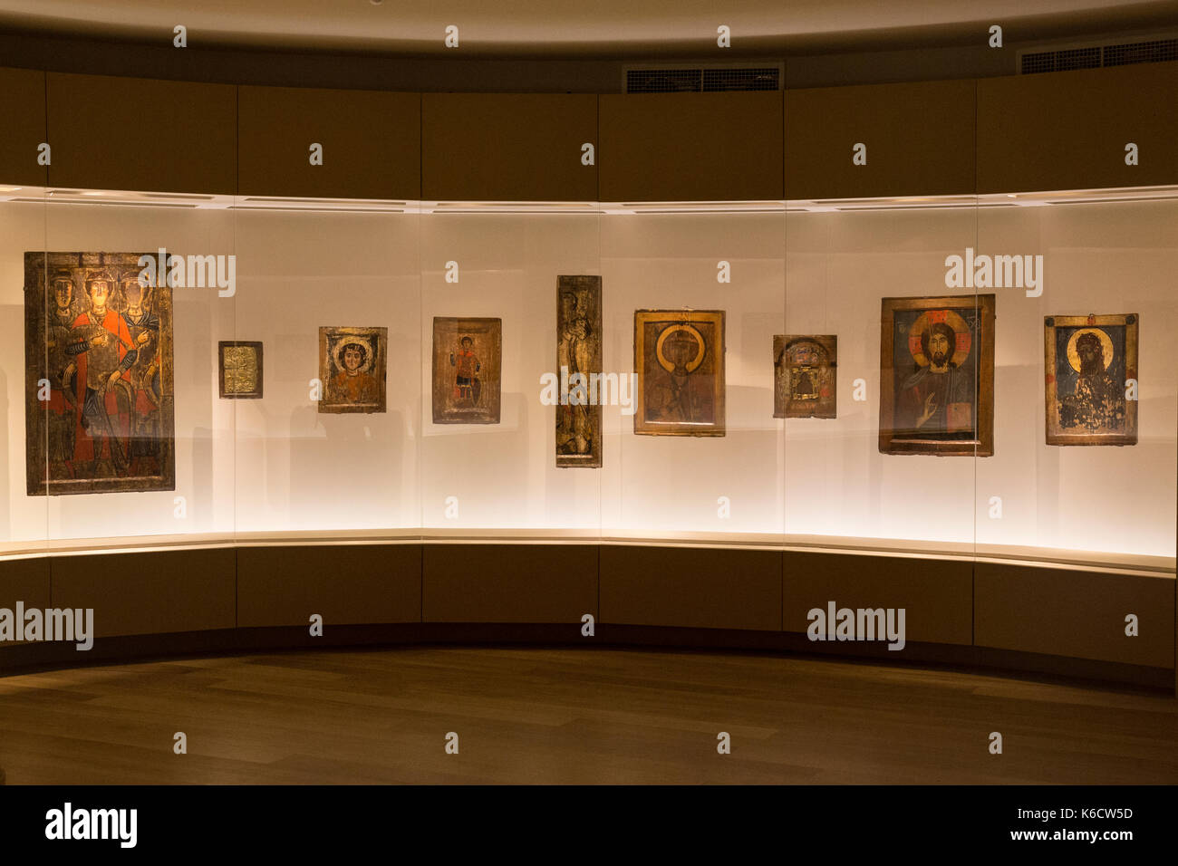 Exhibits inside the Museum of History and Ethnography in Mestia in Georgia. - Stock Image