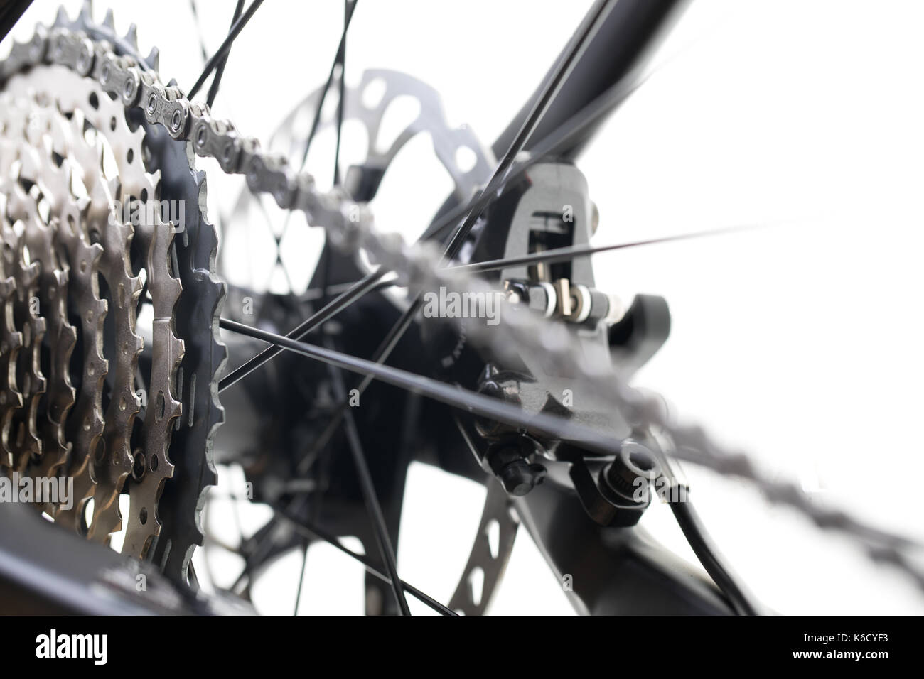 Modern MTB race mountain bike isolated on white background in a studio - Stock Image