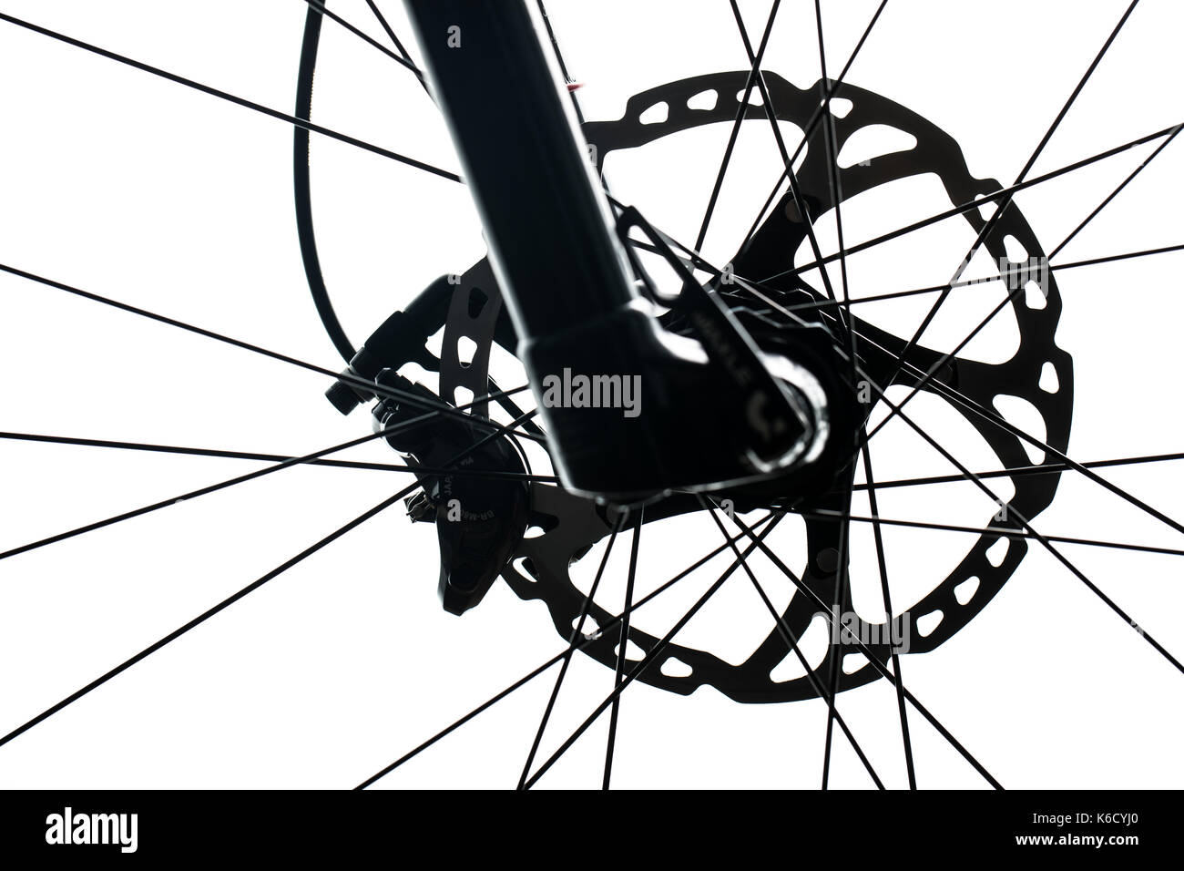 Modern MTB race mountain bike isolated on white in a studio - Stock Image