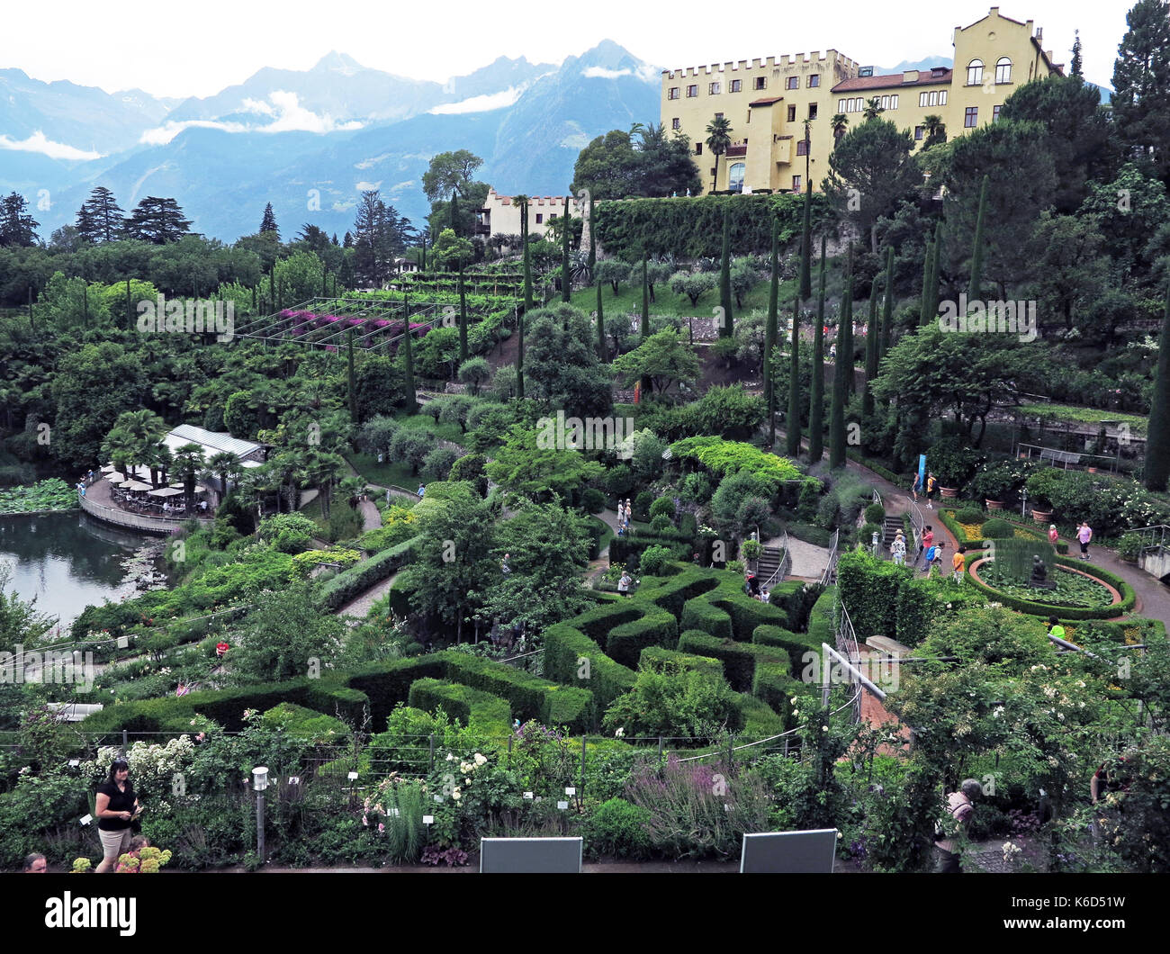 The historic botanic gardens around Trauttmannsdorf Palace are one of the most important attractions in the town of Meran in South Tyrol. View over the gardens to the Palace (Kaiserin Elisabeth of Austro-Hungary spent a lot of time here during the second half of the 19th century). Taken 14.06.2017. Photo: Reinhard Kaufhold/dpa-Zentralbild/ZB | usage worldwide - Stock Image