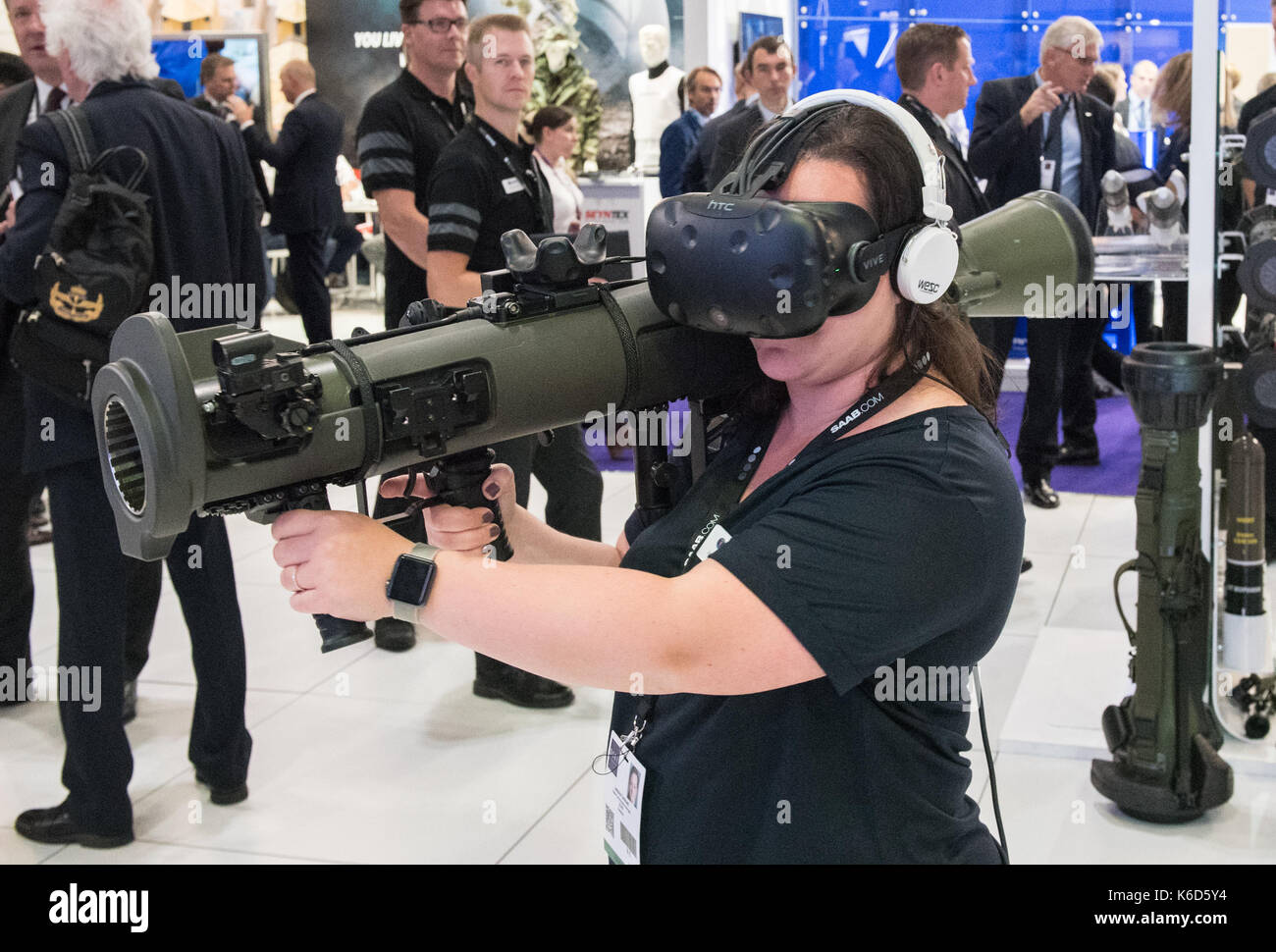 London, UK. 12th Sep, 2017. Defence and Security Equipment International (DSEI) arms fair held every two years in Stock Photo