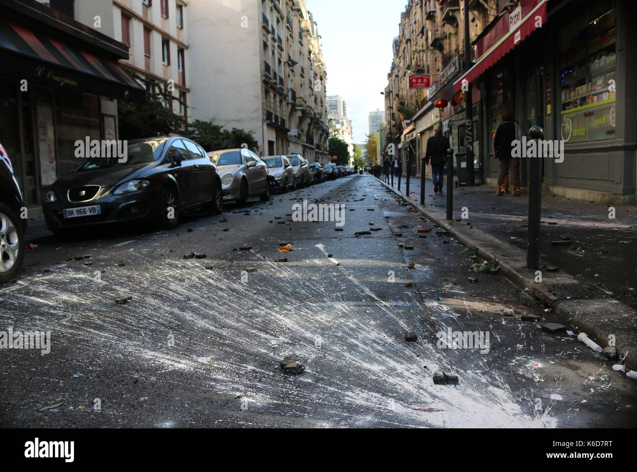 The aftermath left behind after clashes with French police during a Loi Travail march in Paris - Stock Image