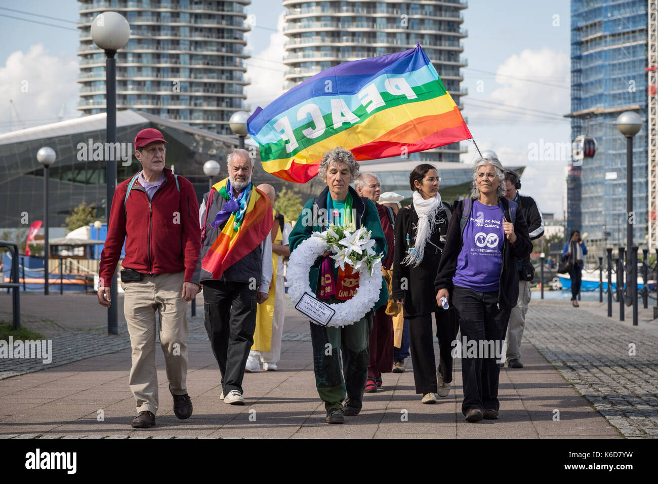 London, UK. 12th Sept, 2017. Anti-war protests continue against DSEi Arms Fair (Defence & Security Equipment International) Stock Photo