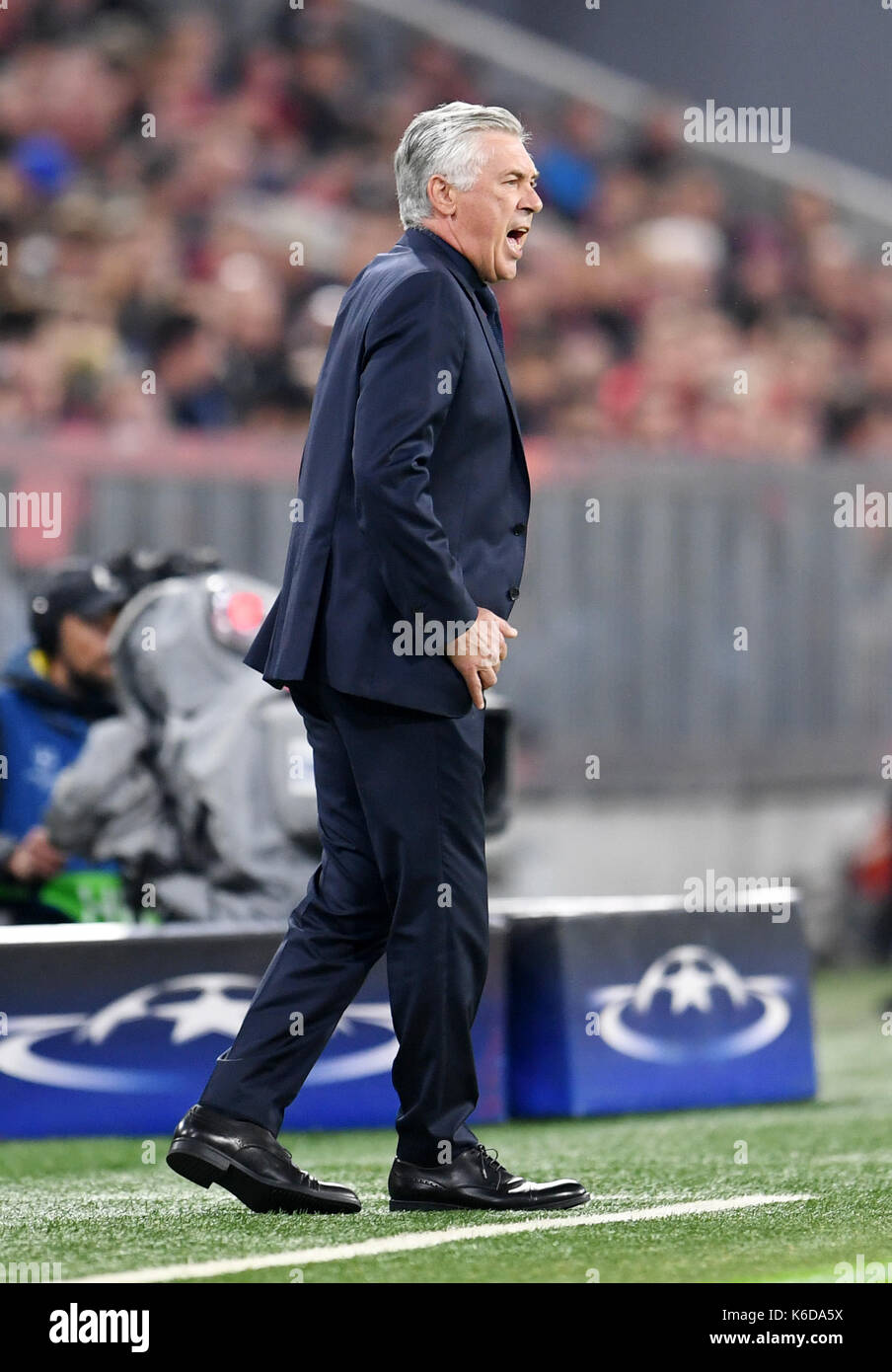 Munich's coach Carlo Ancelotti reacts during the Champions League Group B match between Bayern Munich's and RSC Anderlecht at the Allianz Arena in Munich, Germany, 12 September 2017. Photo: Tobias Hase/dpa - Stock Image