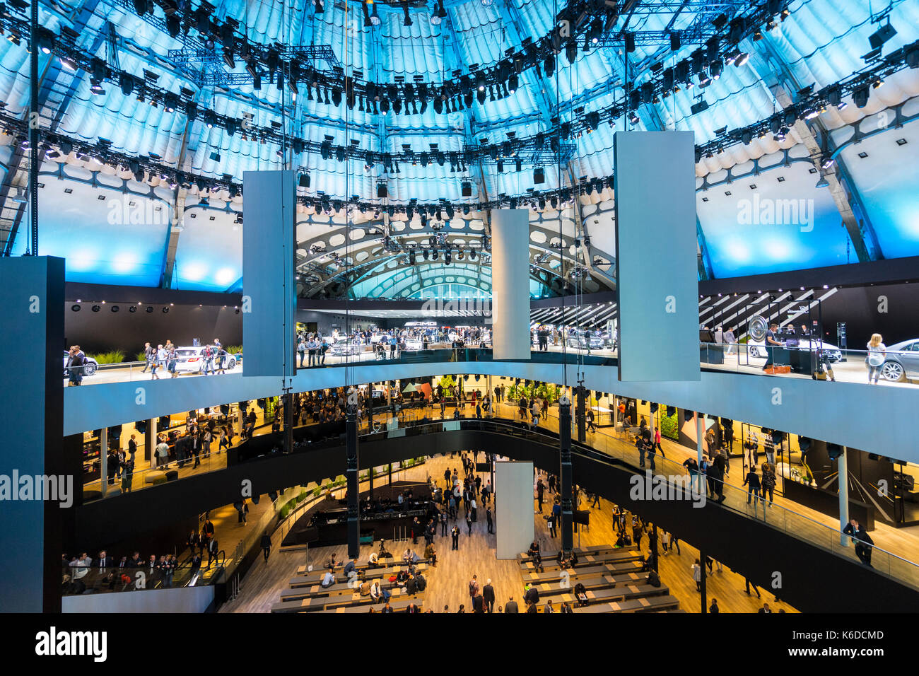 Frankfurt, Germany. , . Frankfurt Motor Show 2017 press day previewing latest vehicles at world's largest motor show. Interior of huge Mercedes stand . Credit: Iain Masterton/Alamy Live News - Stock Image
