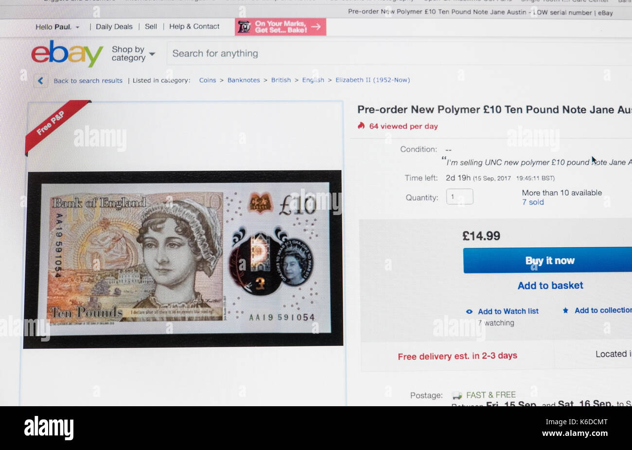 Uk 12th Sep 2017 Ebay Listing For New Ten Pound Note That Will Be Stock Photo Alamy