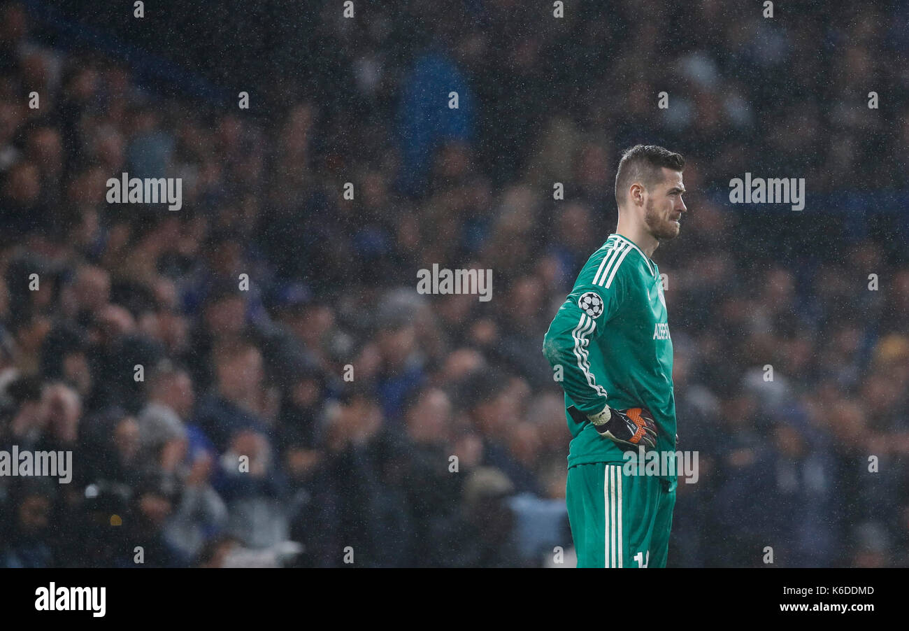 London, UK. 12th Sep, 2017. Qarabag FK's goalkeeper Ibrahim Sehic is dejected in the rain during the UEFA Champions Stock Photo