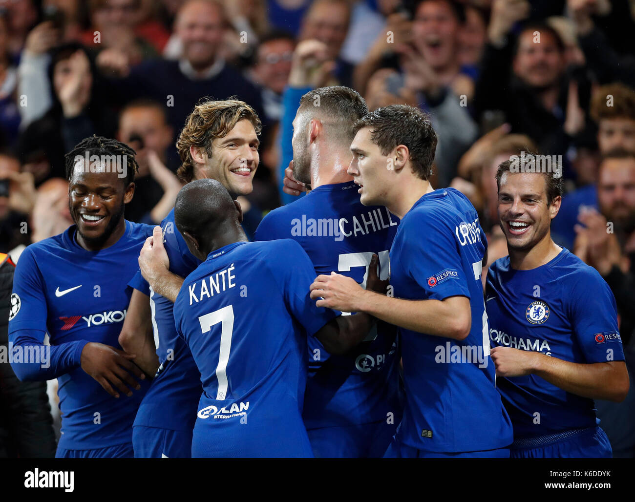 London, UK. 12th Sep, 2017. Players of Chelsea celebrate after scoring during the UEFA Champions League Group C Stock Photo