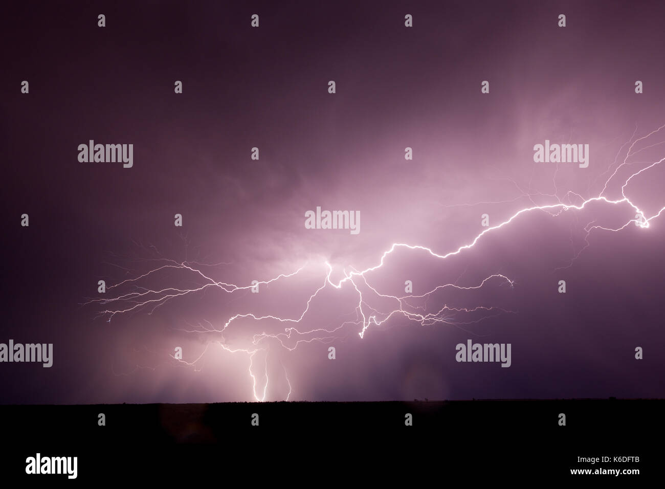 Lightning photographed during heavy rain, somewhere north of Wentworth. - Stock Image